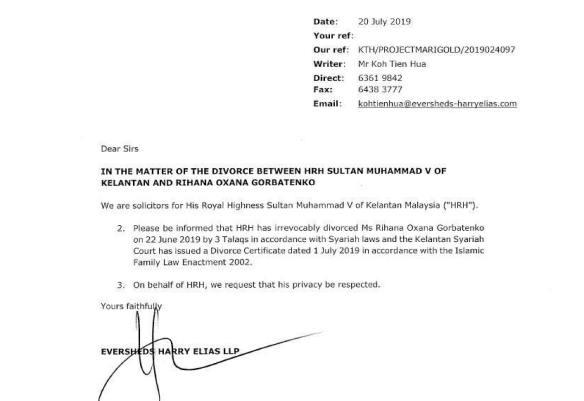 Peguam Sahkan Sultan Kelantan Bercerai Talak Tiga Dengan