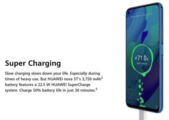 kapasiti bateri huawei nova 5t