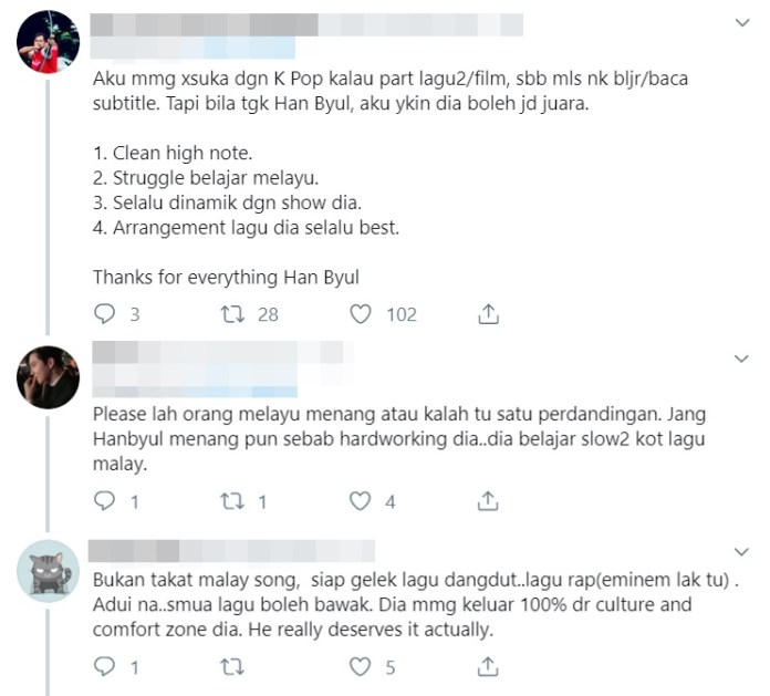 netizen sokong kemenangan hanbyul