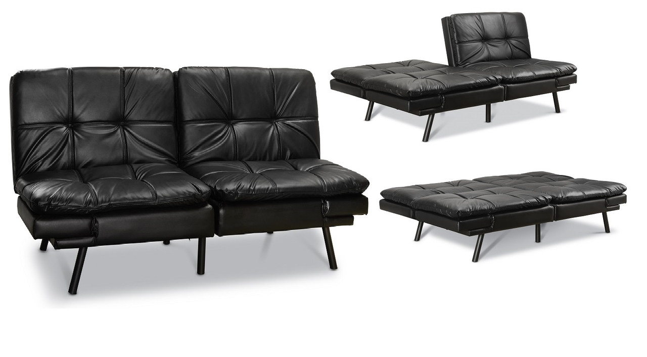 Split Seat Sleeper Sofa Bed Pu Leather Convertible Couch