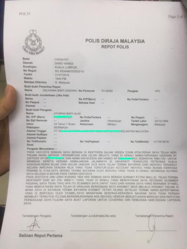 laporan polis dibuat oleh scammer