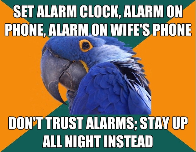 Paranoid Parrot - set alarm clock alarm on phone alarm on ..