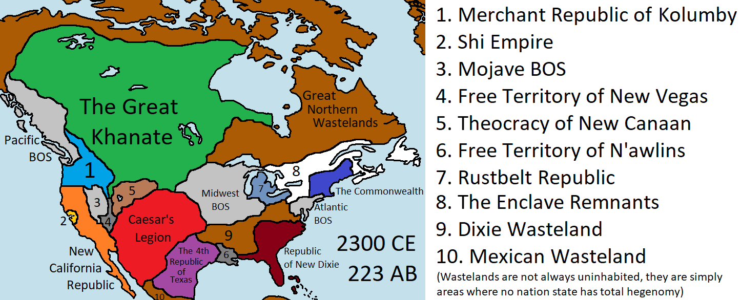 My Vision Of Fallout S North America 19 Years After The Events Of New Vegas Imaginarymaps