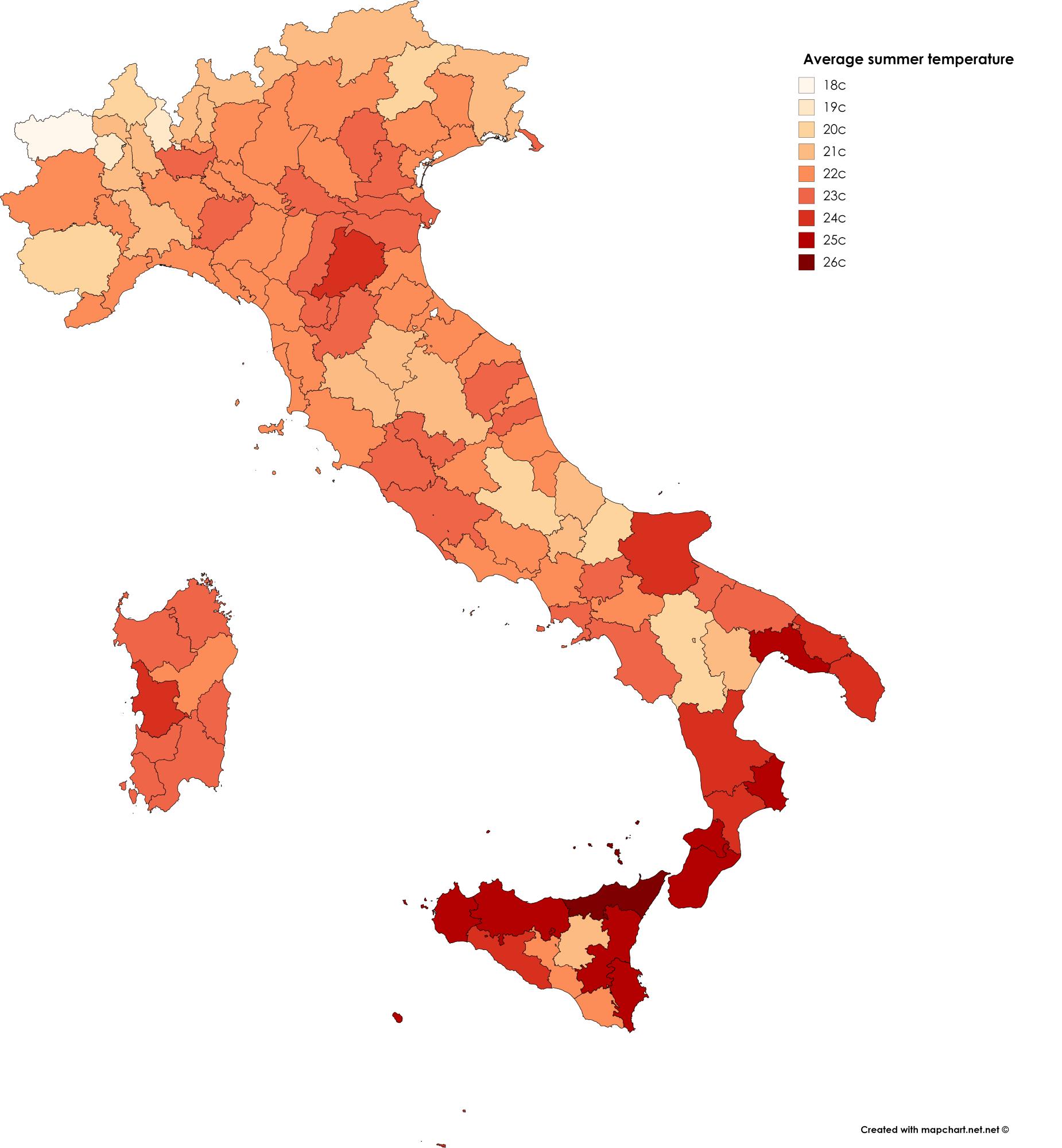 Italy Temperature Map