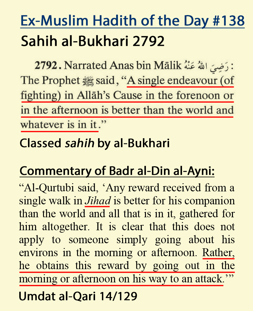 Hotd 138 Muhammad Says Violent Jihad Is Better Than Anything In