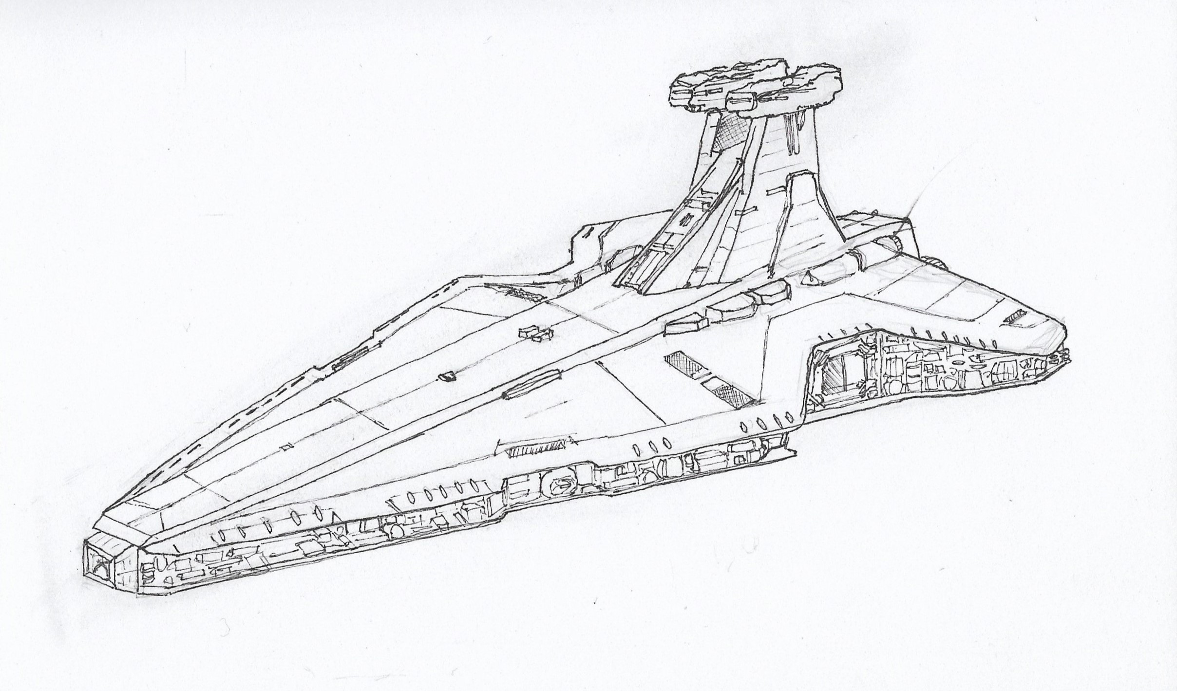 Venator Class Star Destroyer Drawn Over Five Days Drawing