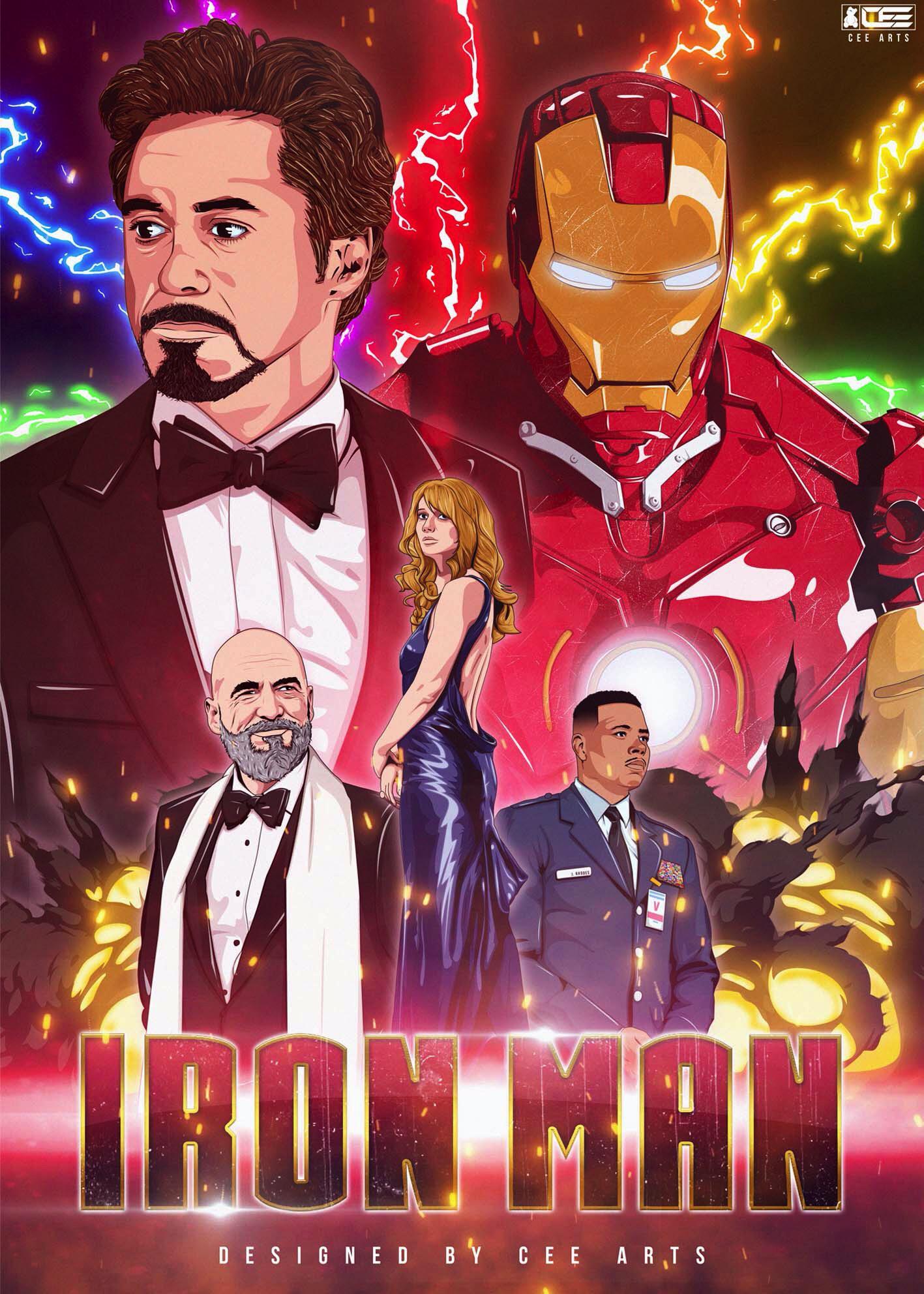 illustrated iron man 2008 movie poster