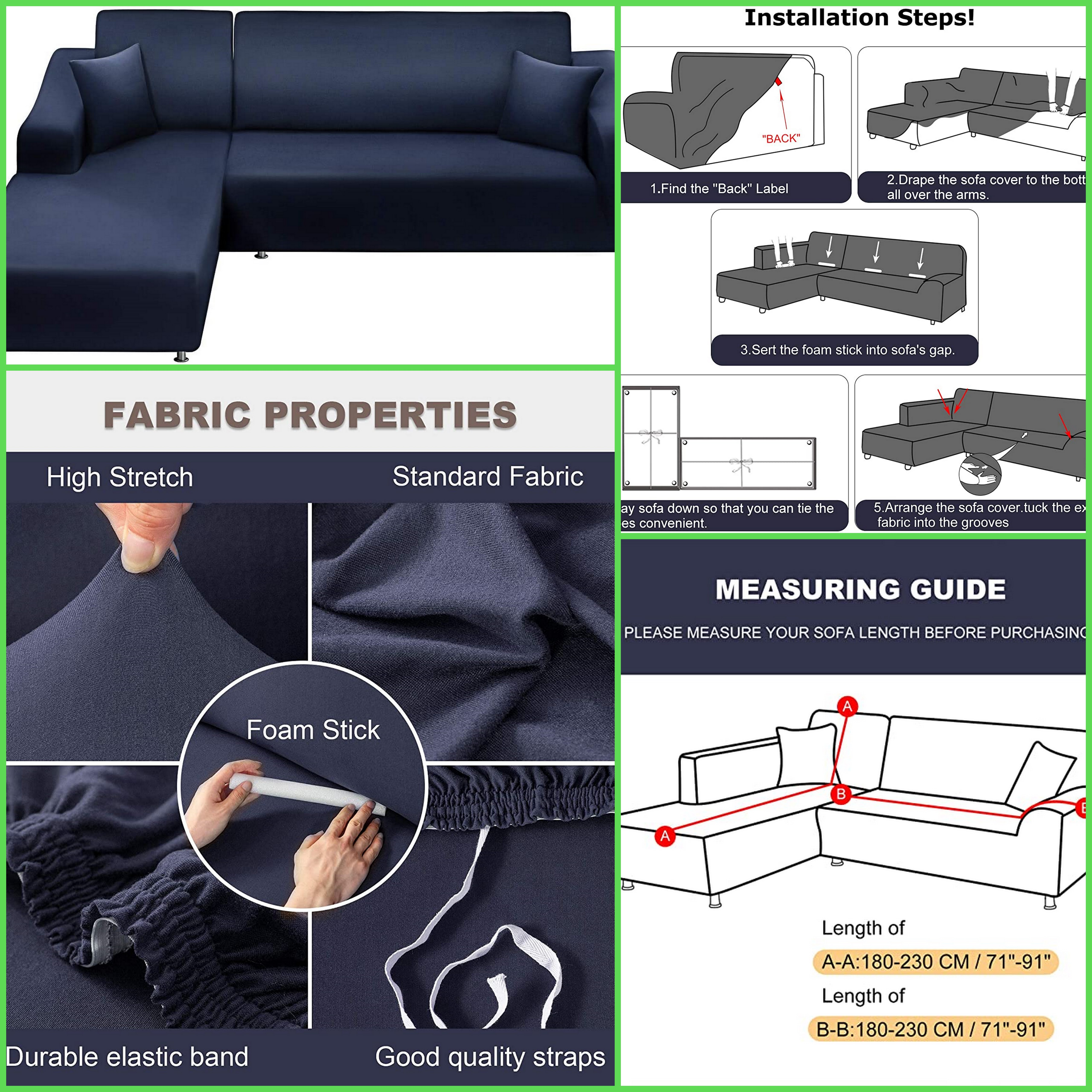 sofa slipcover sectional couch covers 2 piece l shaped sofa covers with 2 pcs pillow covers navy valued 65 free for usa product testers dm for details amzreviewtrader