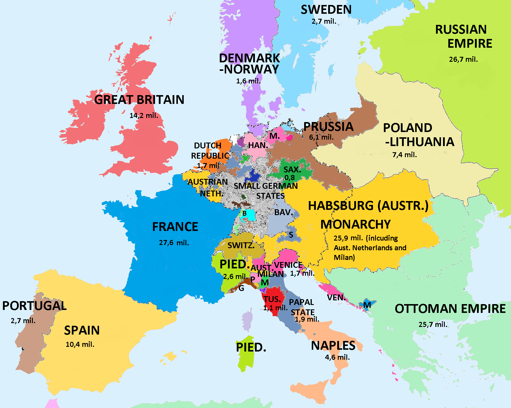 Map Showing Population Of European Countries On The