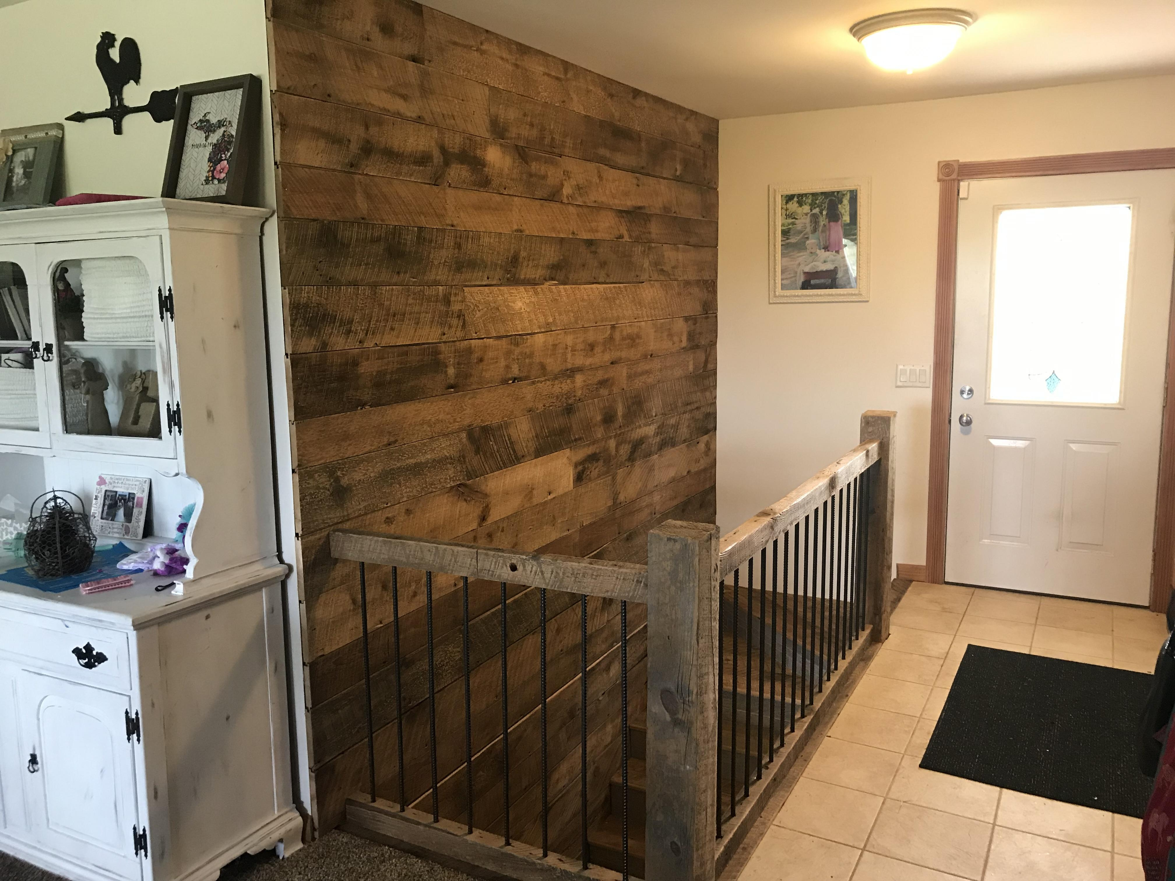 Rustic Stair Railing With Barn Wood Accent Wall More Pics In   Rustic Stairs And Railings   Handrail   Custom   Design   Cabin   Interior