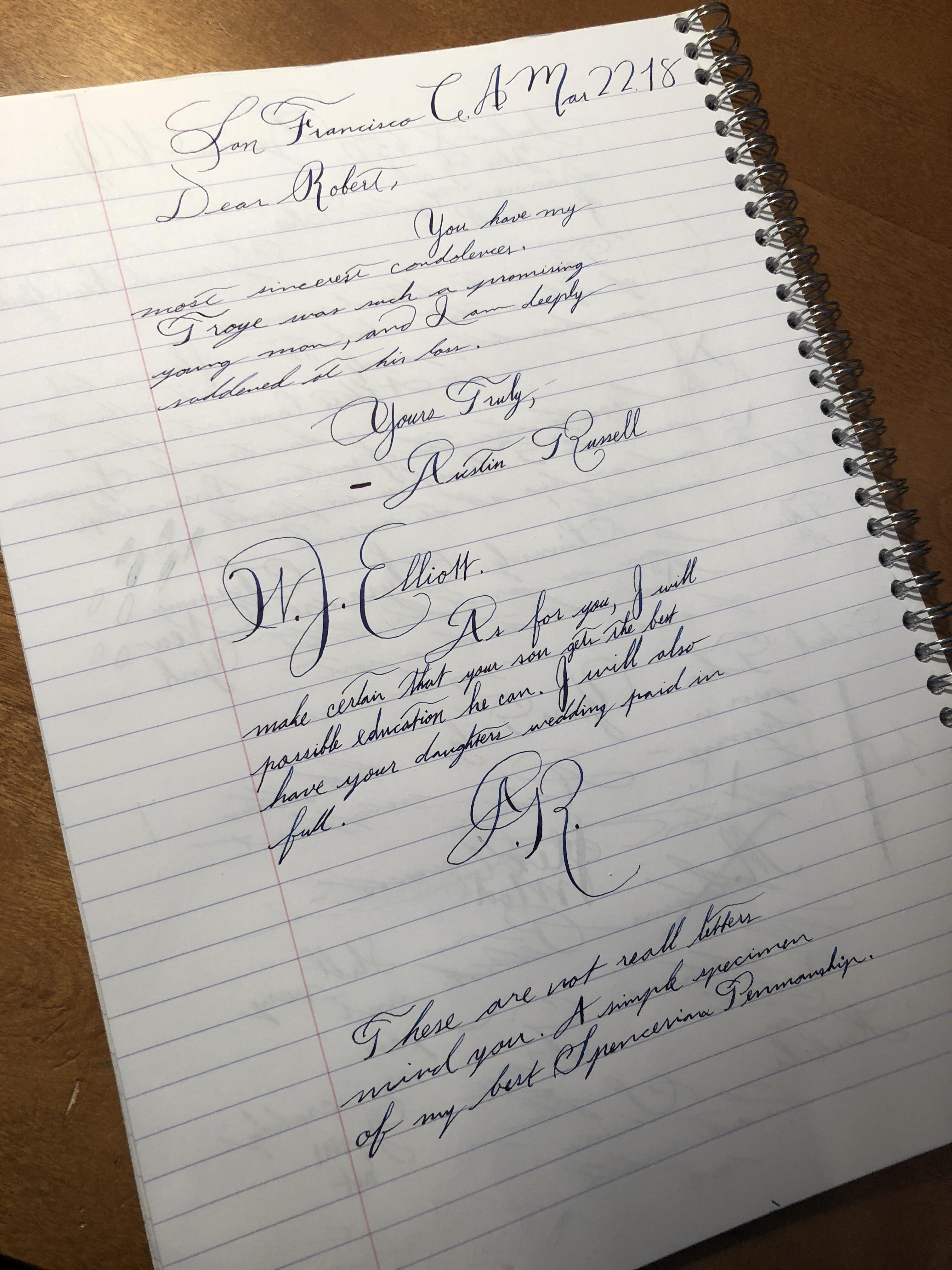 Practicing My Spencerian Penmanship Handwriting