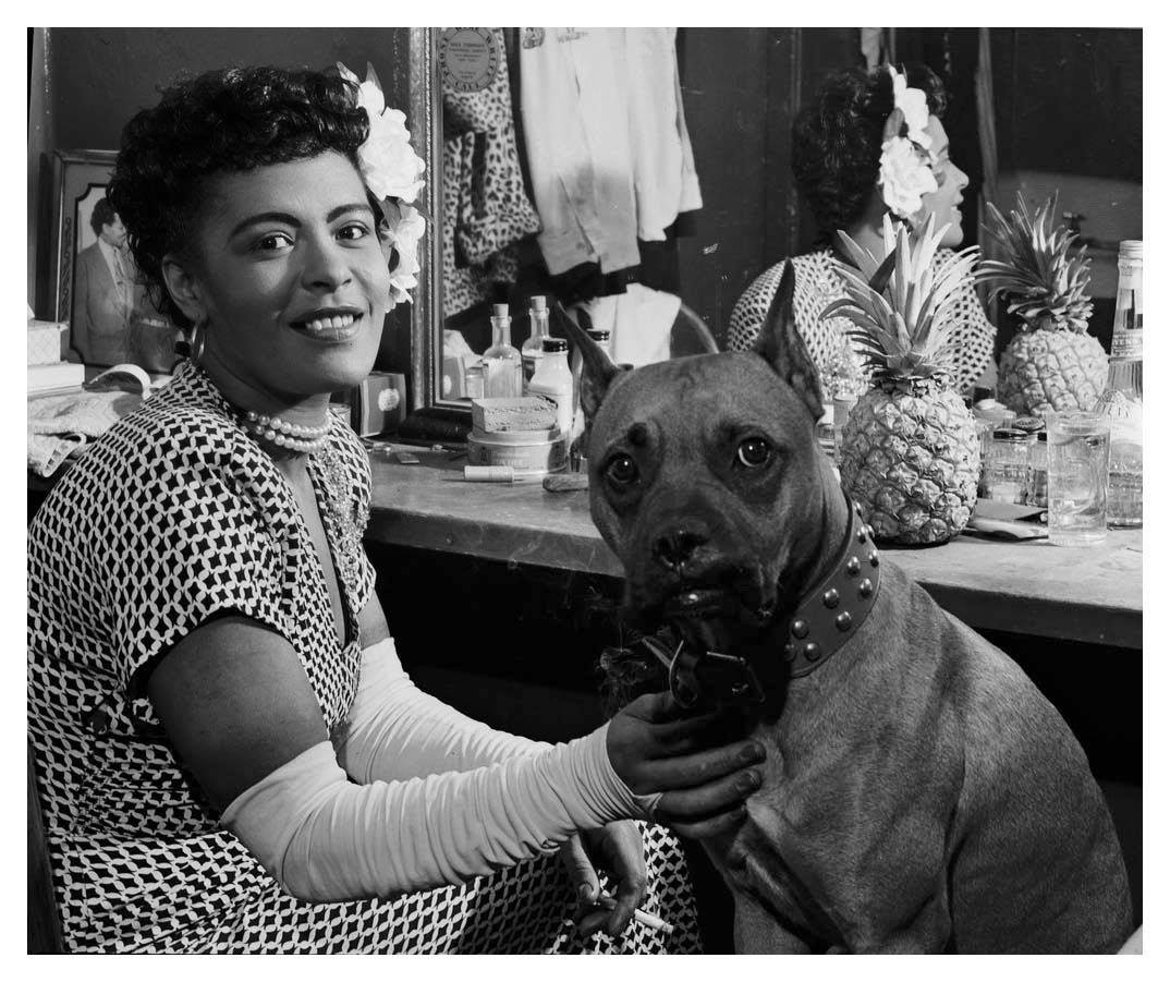 Billie Holiday Back Stage With Her Boxer Mister Photo By William P Gottlieb Oldschoolcool