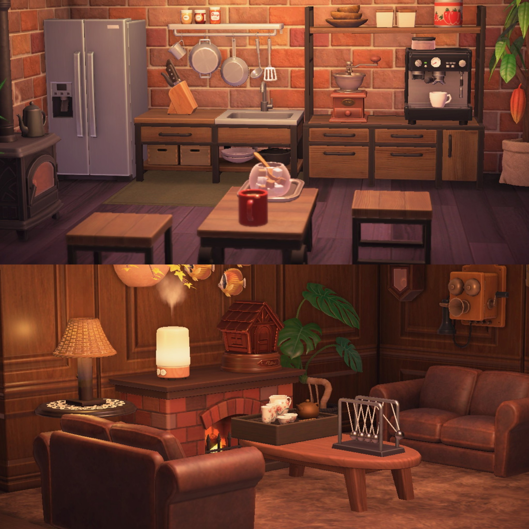 quite happy with how my kitchen and living room is now ... on Animal Crossing New Horizons Living Room  id=52936