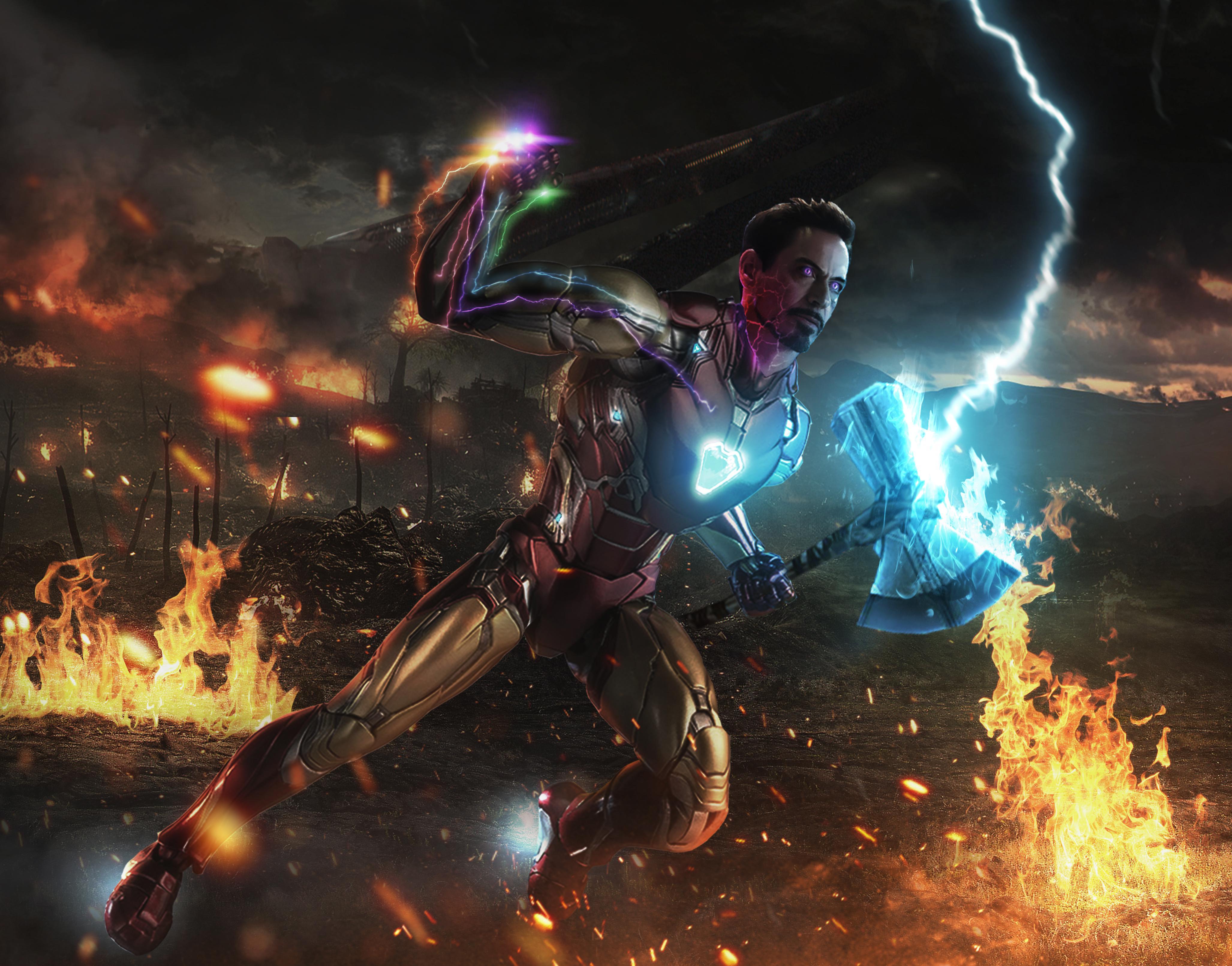 Iron Man With The Stones And Storm Breaker Marvelstudios