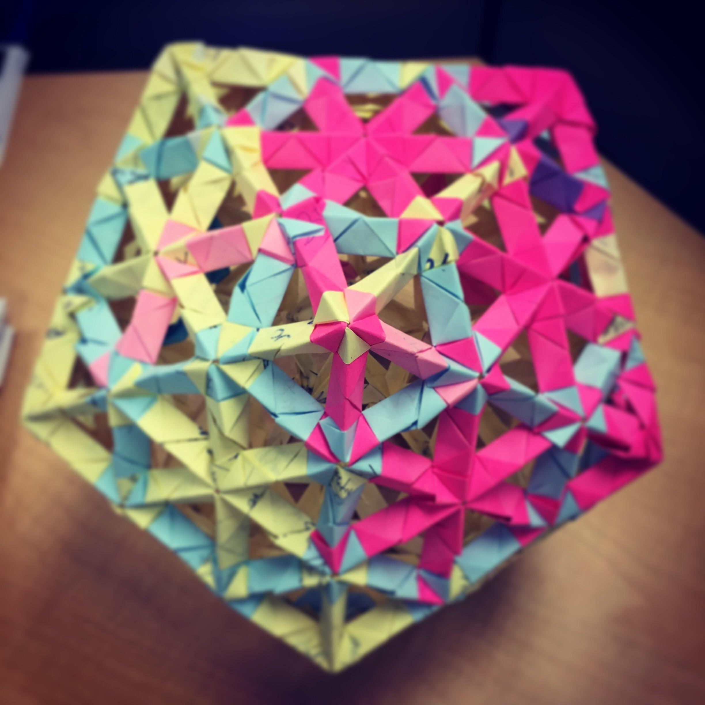 origami icosahedron made from 270 used sticky notes