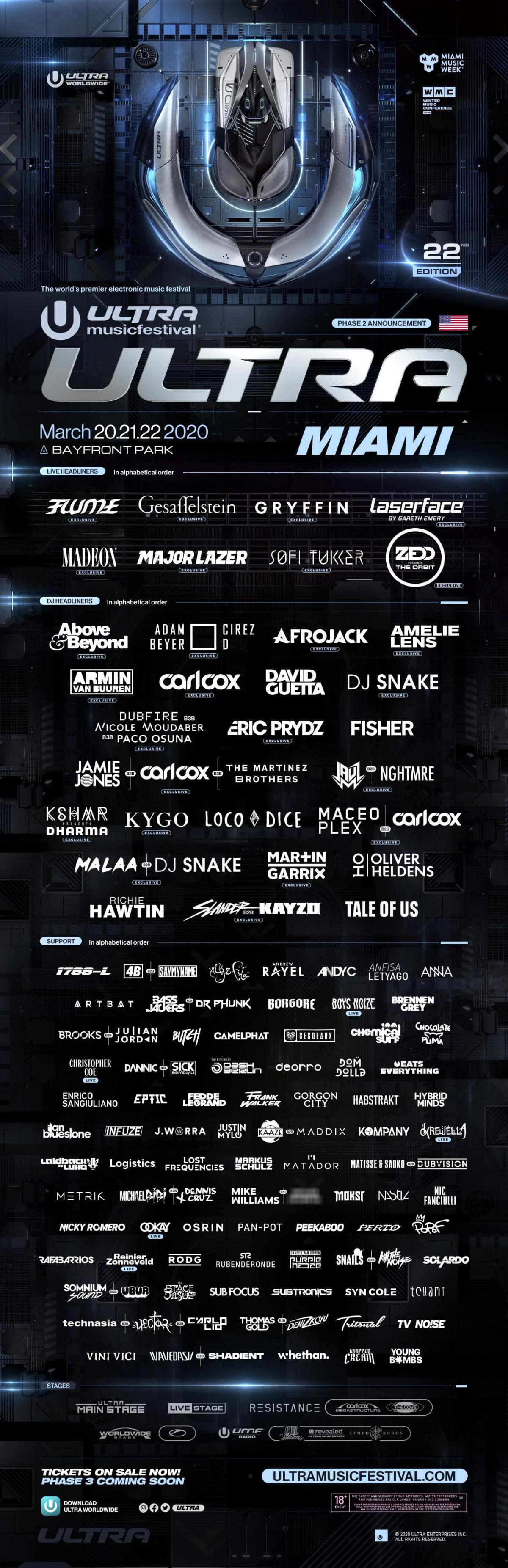 Ultra Music Festival Miami 2020 Phase 2 lineup