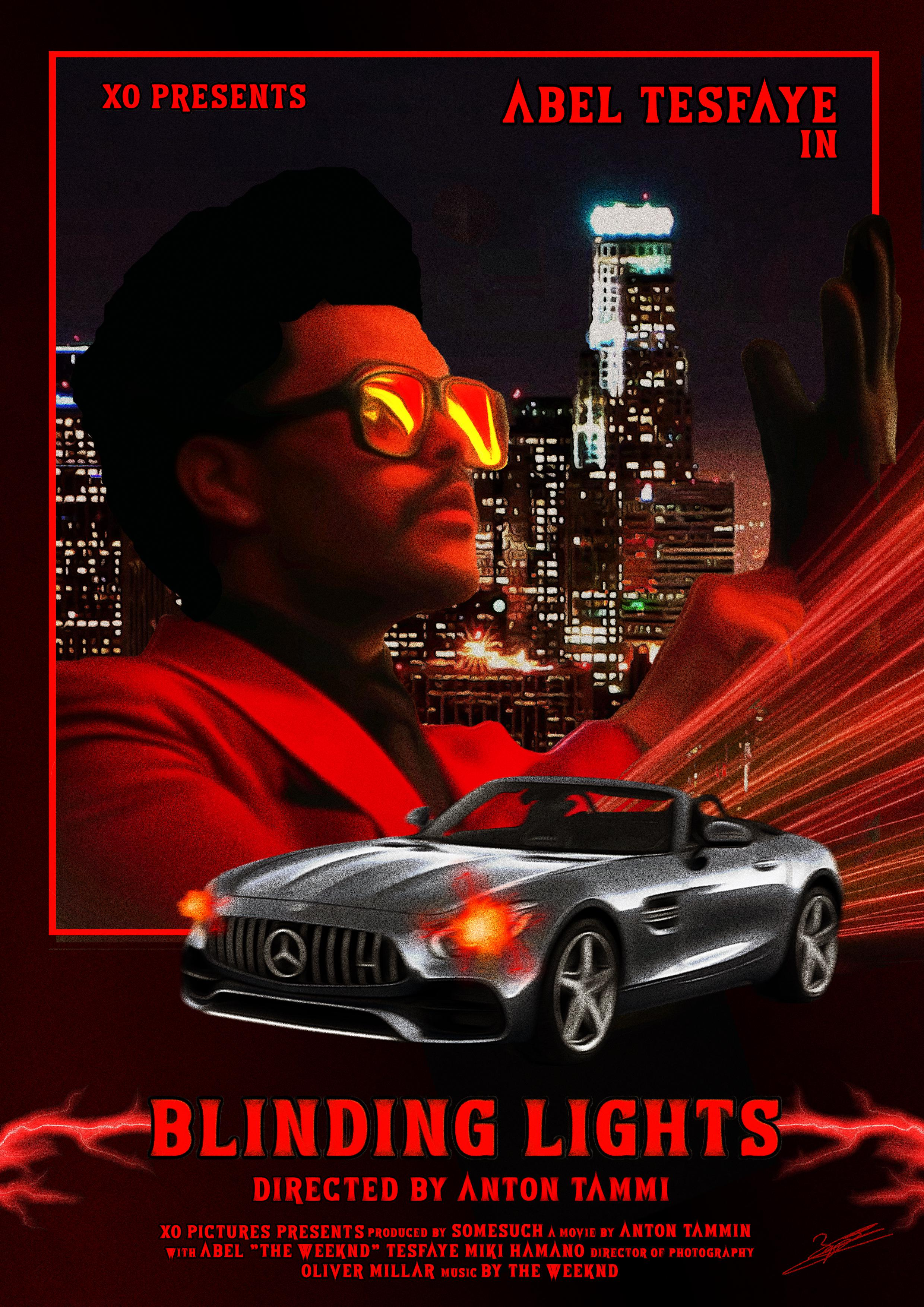 blinding lights movie poster theweeknd