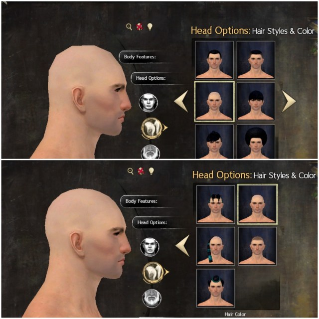 "til human male has two bald ""hairstyles"" which change the"