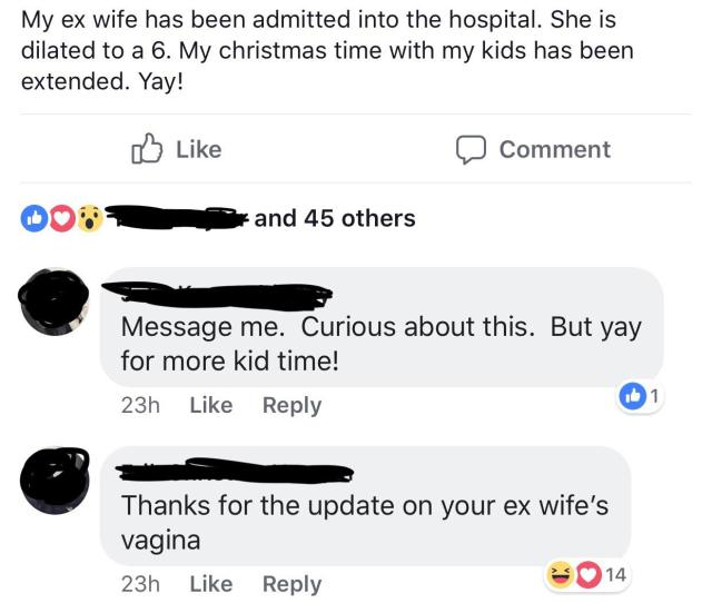 Glad To Know He Gets Updates About His Ex Wifes Vag