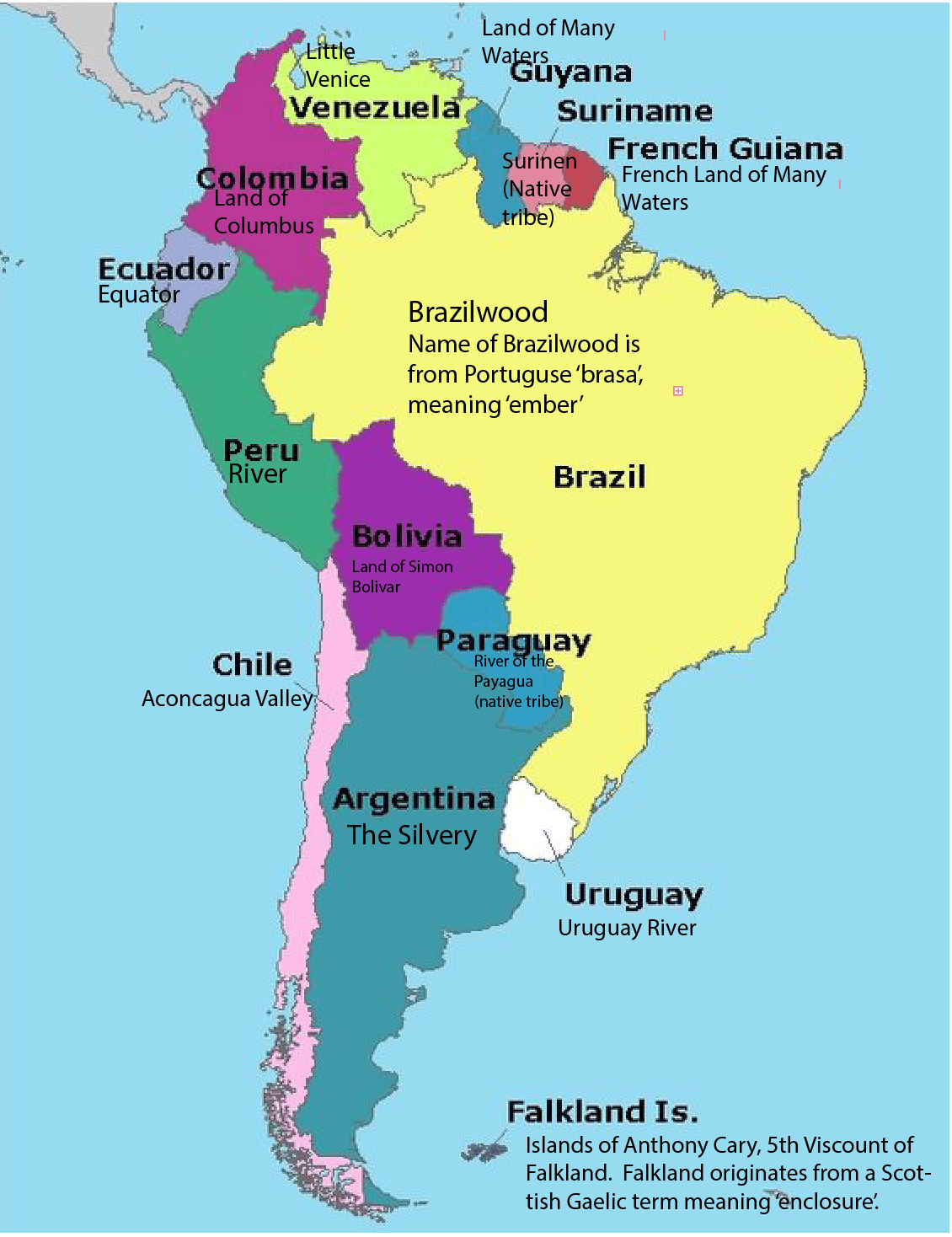 An Etymological Map Of South America X Map