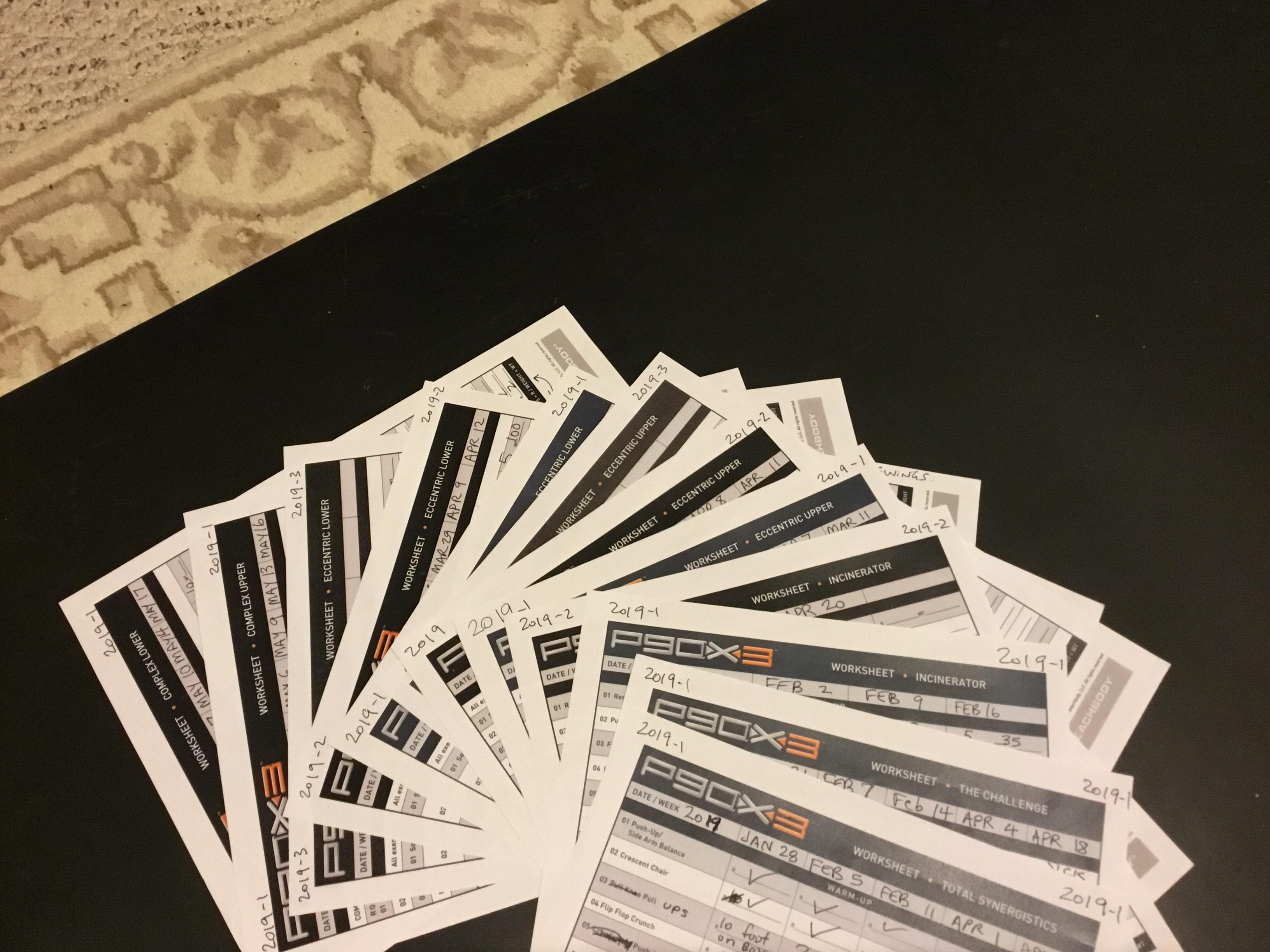 Completed Worksheets From 120 Days Of P90x3 January 28th