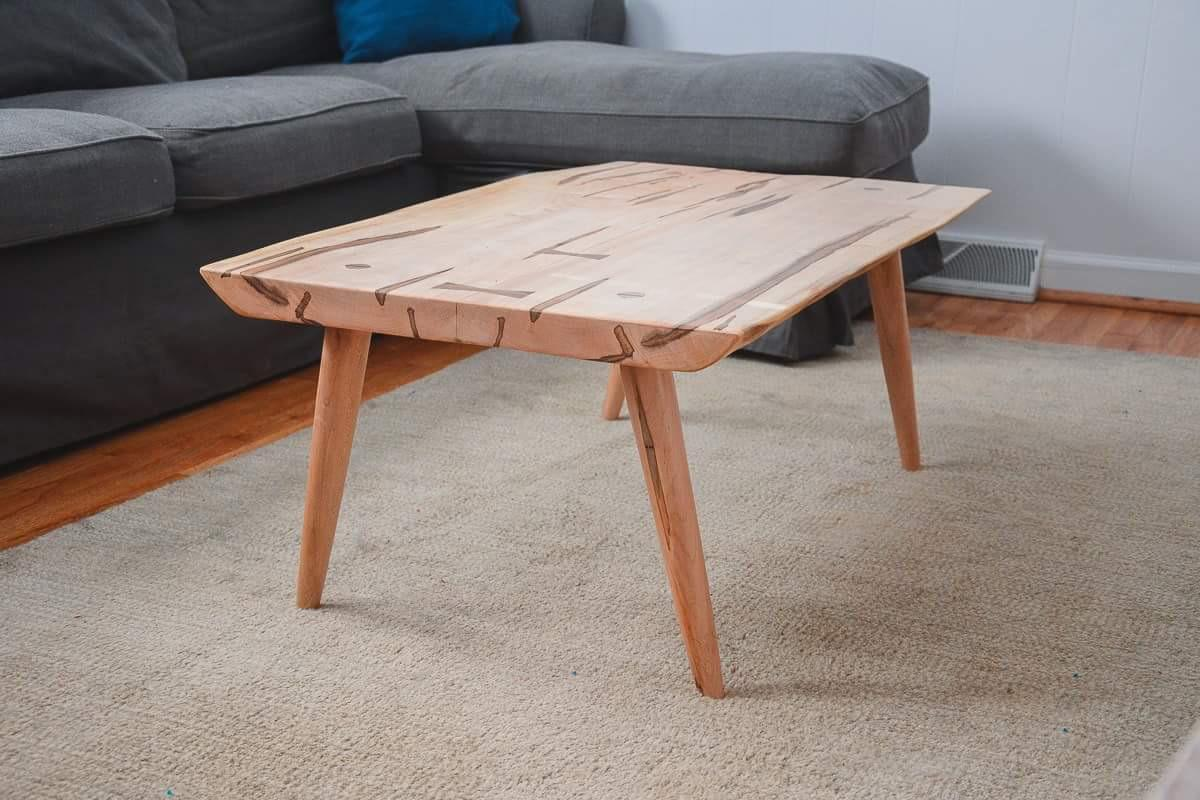 maple slab coffee table with turned