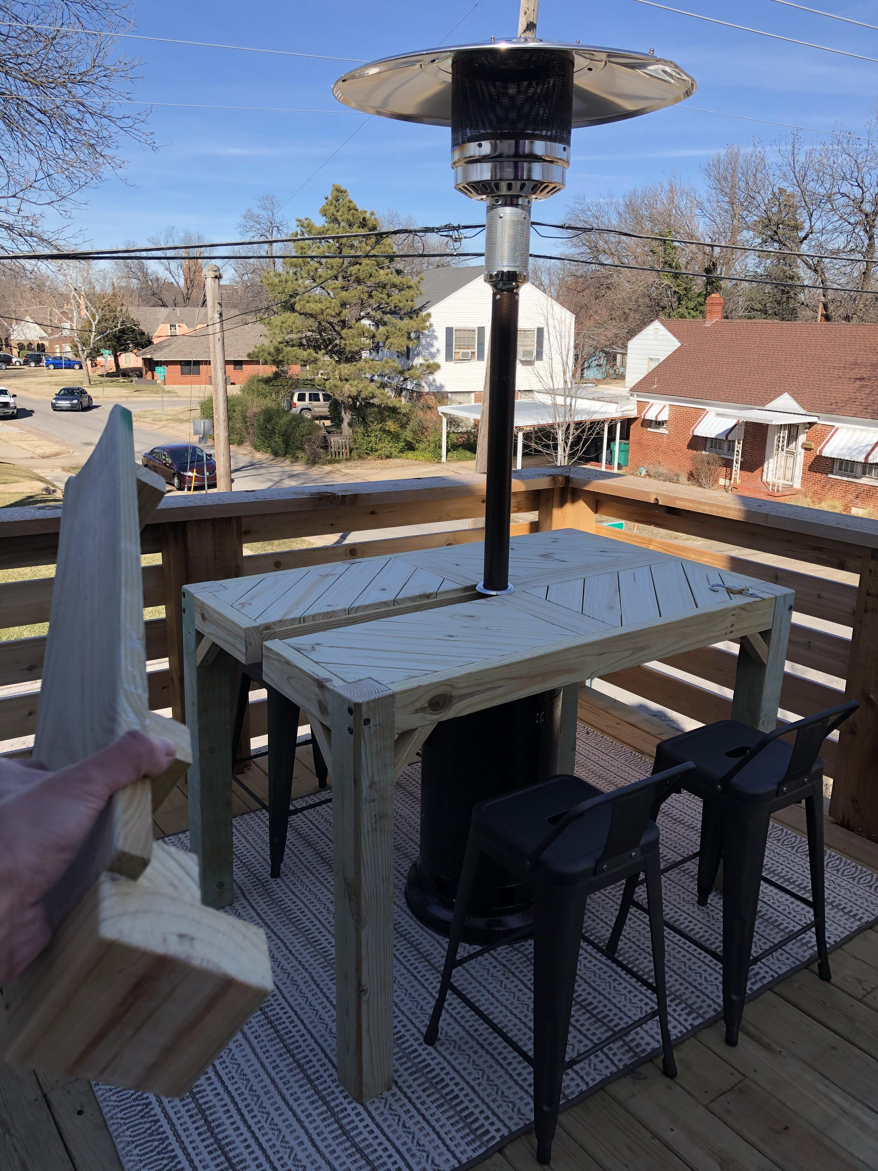 diy wood table w lift off piece for