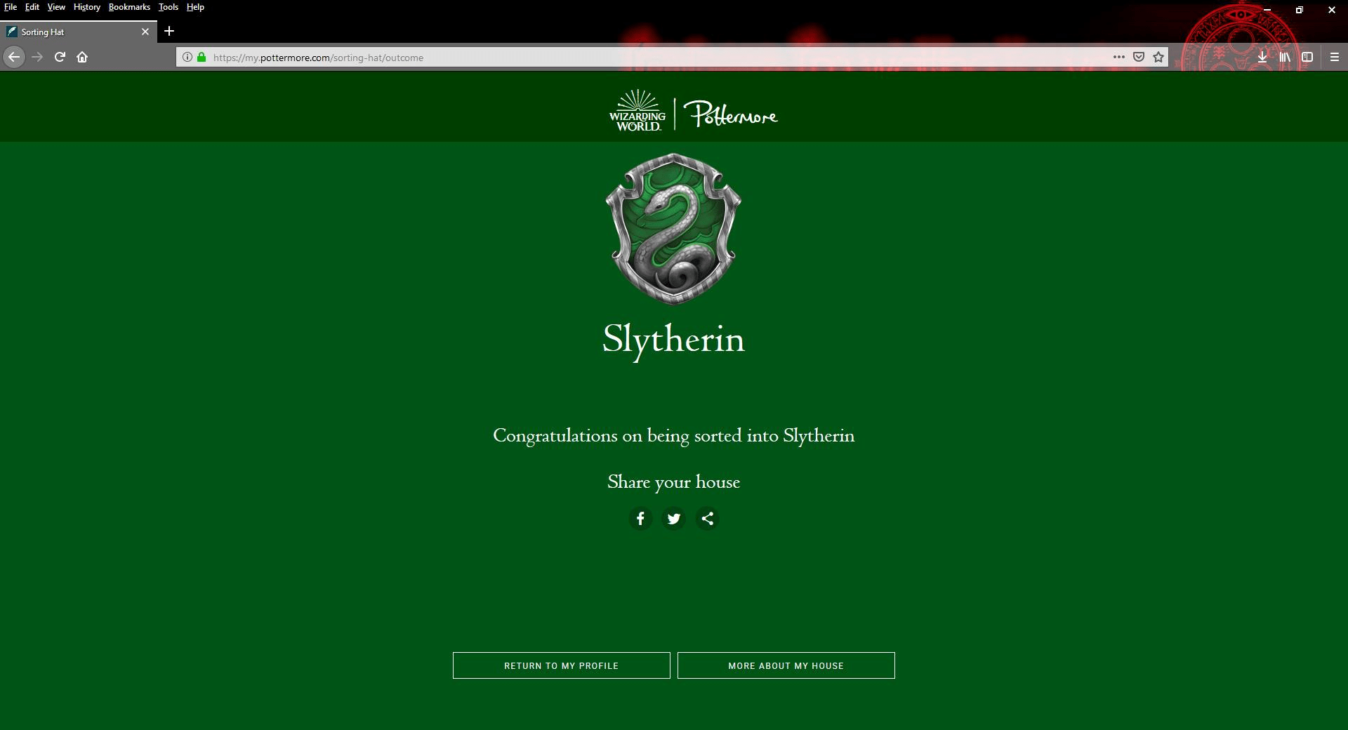 Retook The Pottermore Sorting Quiz For To See If Anything Would Change Still A Slytherin
