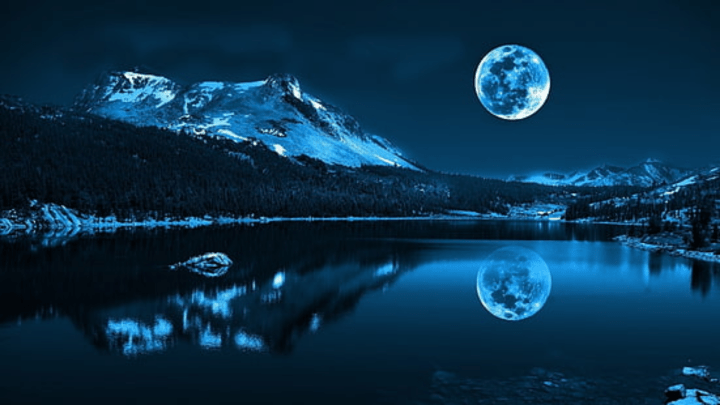 [1920×1080] reflection of a snowy mountain on the body of water under full-moon wallpaper