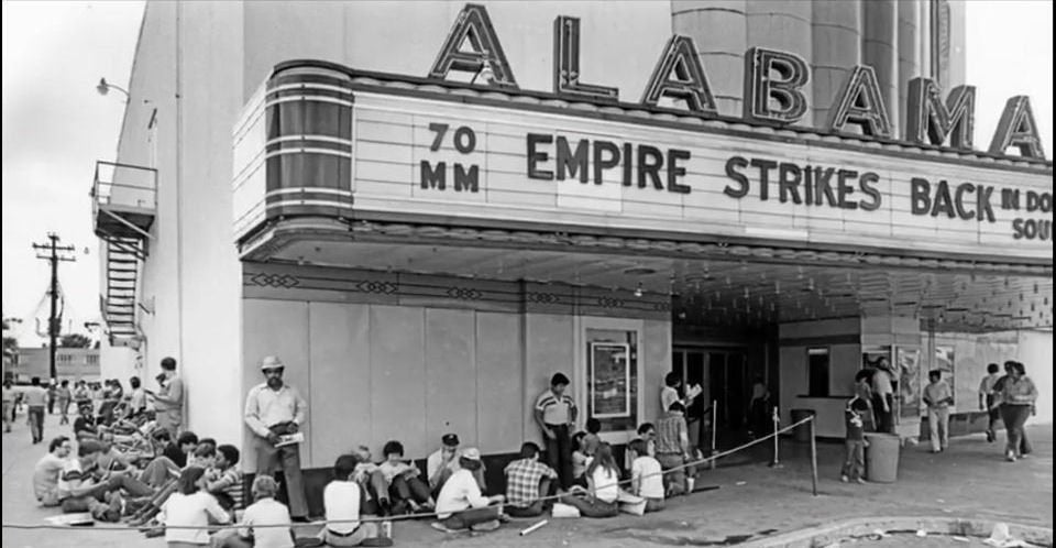 1980: Fans lined up to watch EMPIRE at the now closed Alabama theater in Houston. : StarWars