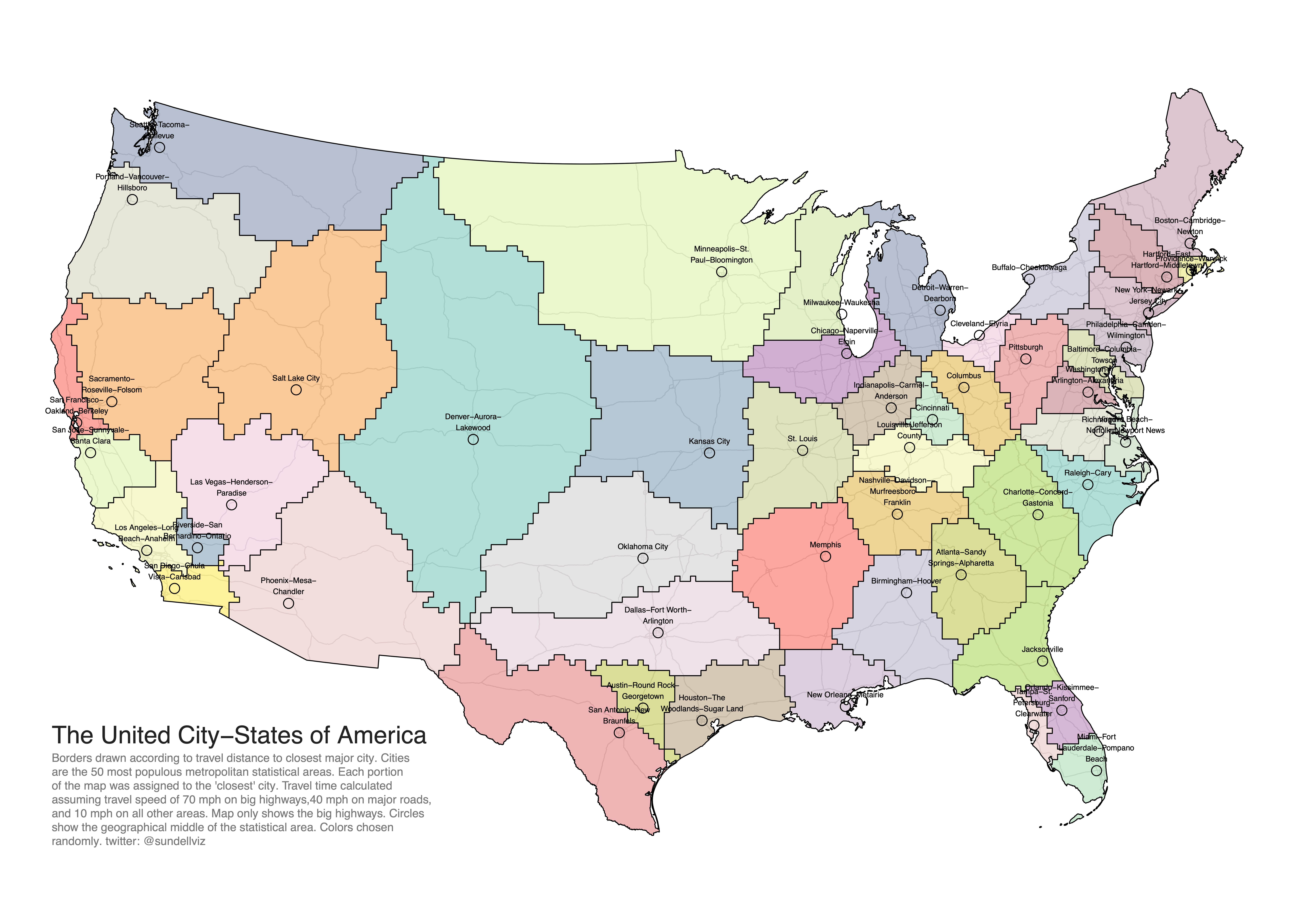 Alot travel themes every decade, we use a census to determine where people are going in the states. Oc The United City States Of America Borders Redrawn So That Each Part Of The Map Is Assigned To The Nearest In Travel Time Of The 50 Largest Metropolitan Areas Dataisbeautiful