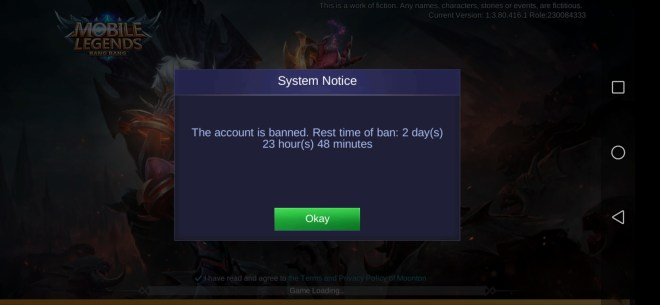 i got banned for playing with new unity mobile legends. what