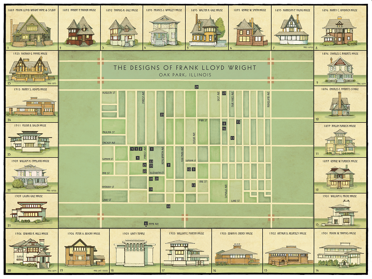 Evolution Of Frank LLoyd's Wright Style. Map & Homes In
