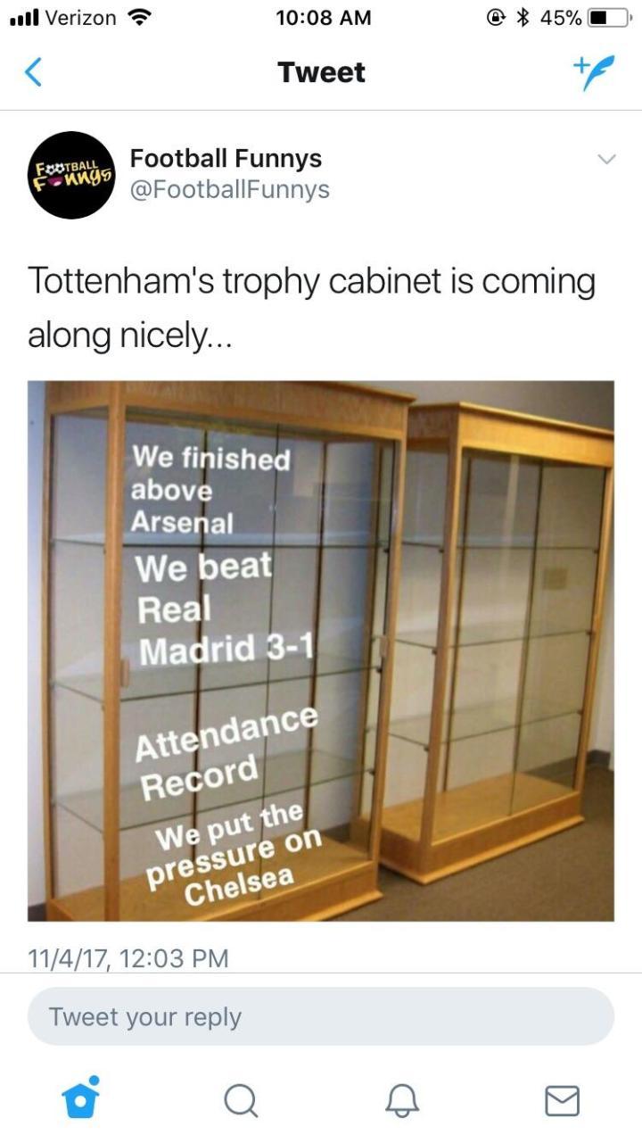 Empty Trophy Cabinet Tottenham Matasanos Org