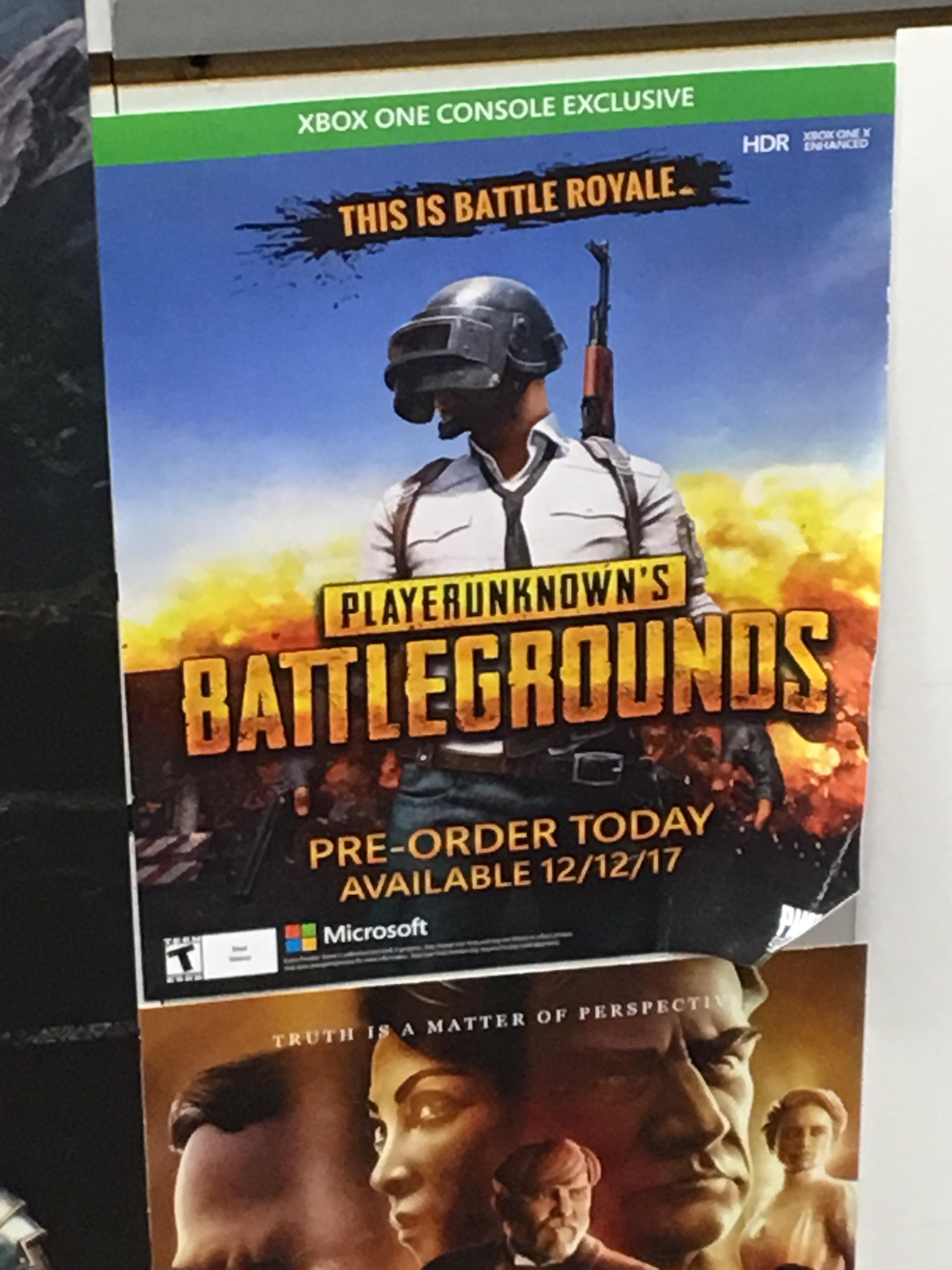 Xbox PUBG Pre Order Poster I Saw In GameStop PUBATTLEGROUNDS