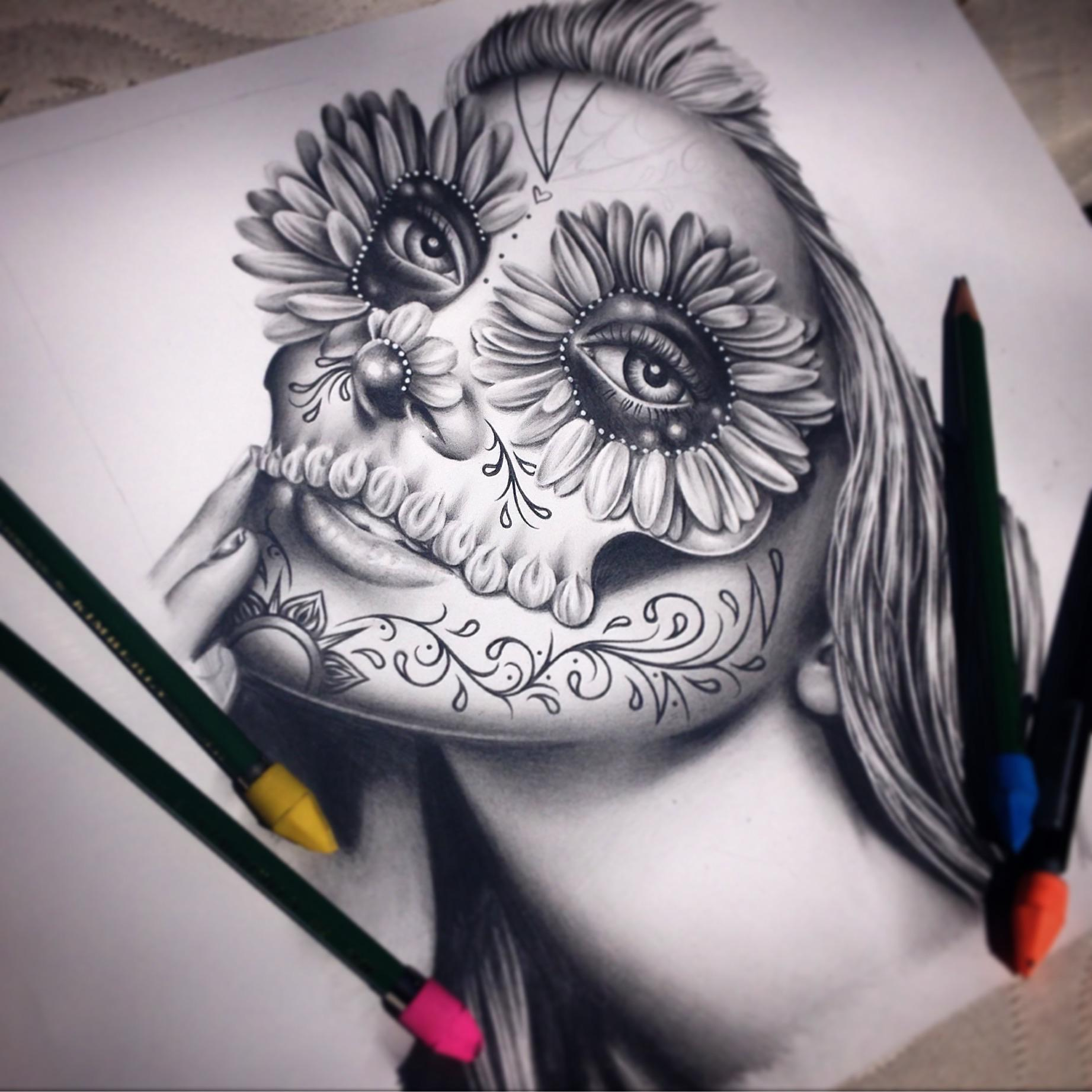 Drawing A Sugar Skull Girl With Pencils Drawing