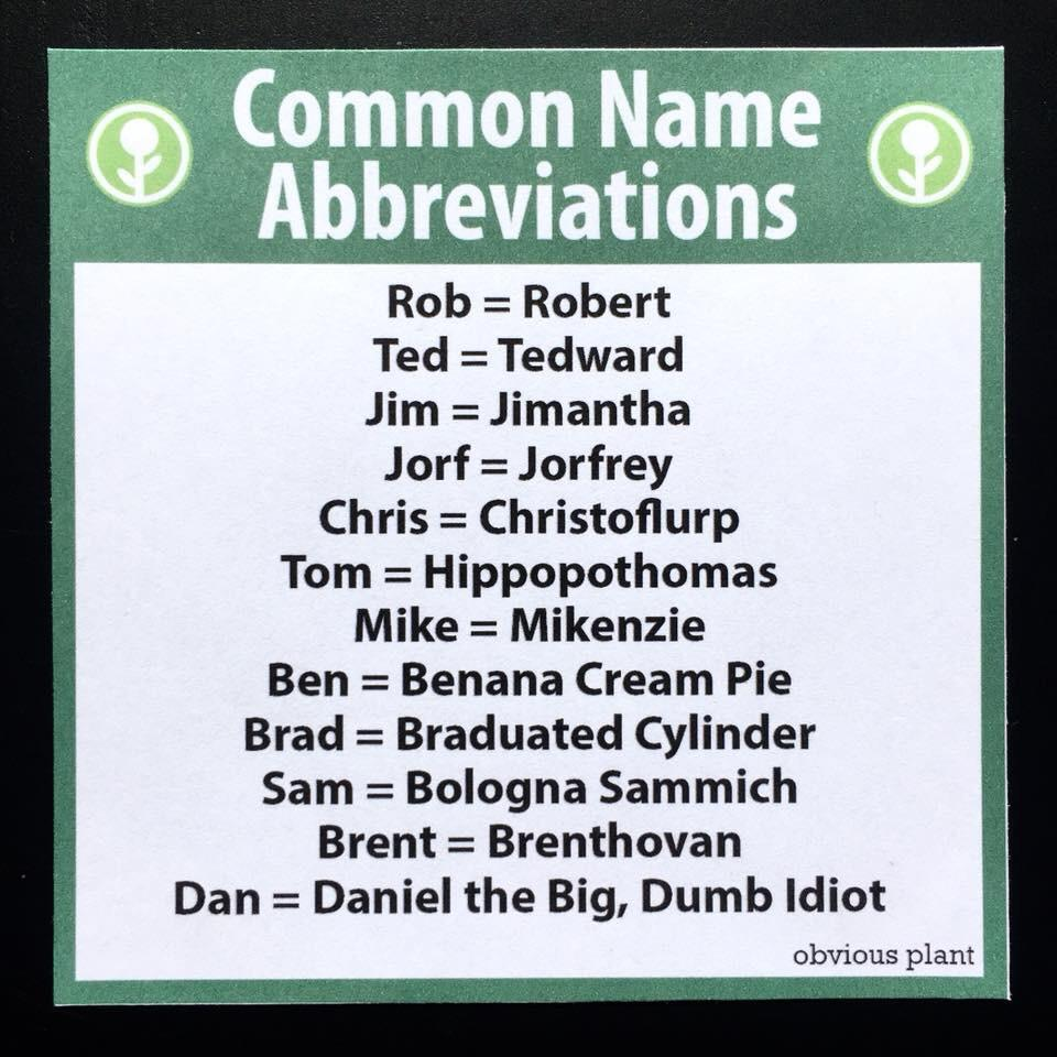 Common Name Abbreviations Funny