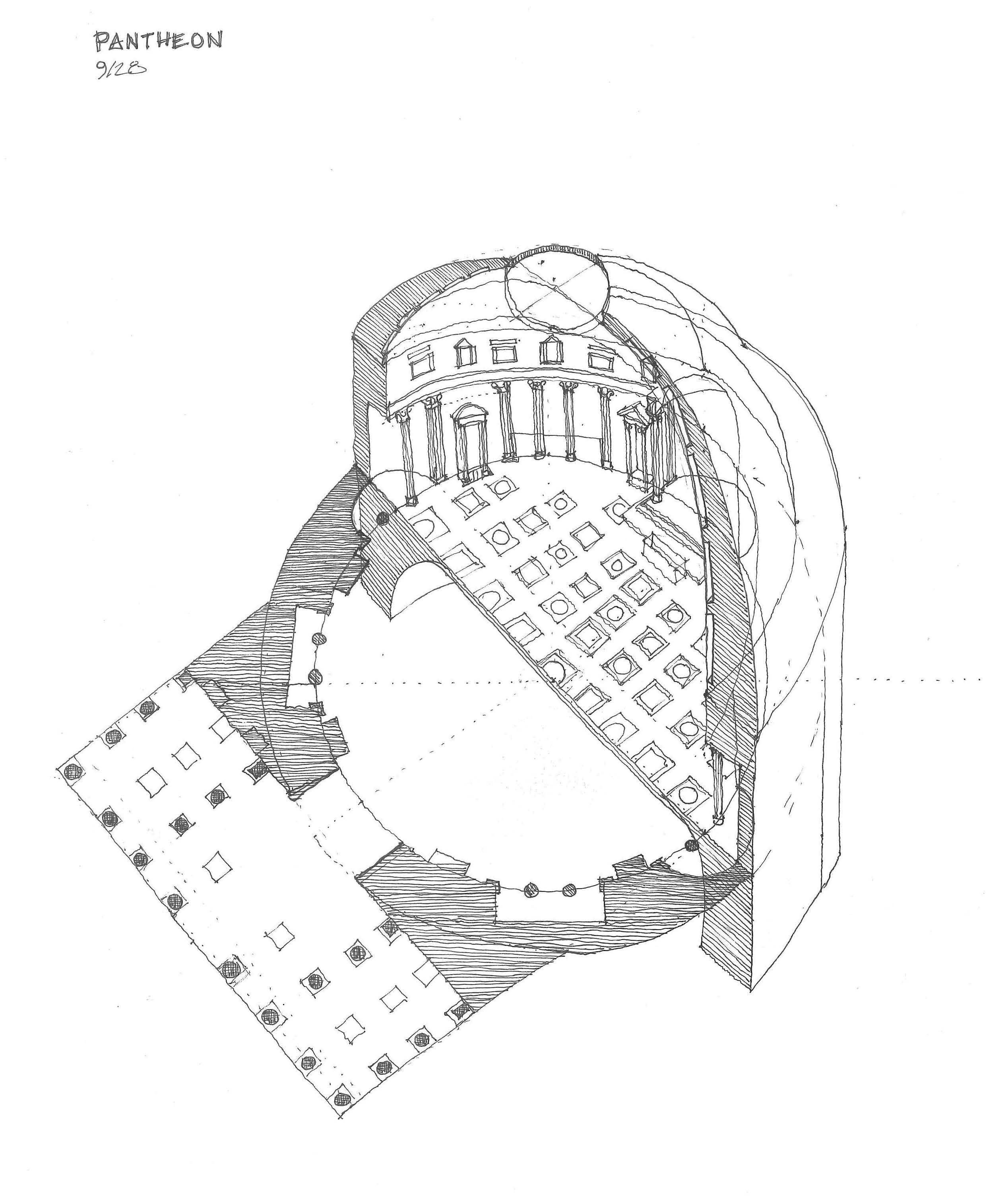 Pantheon Sketch Building Architecture