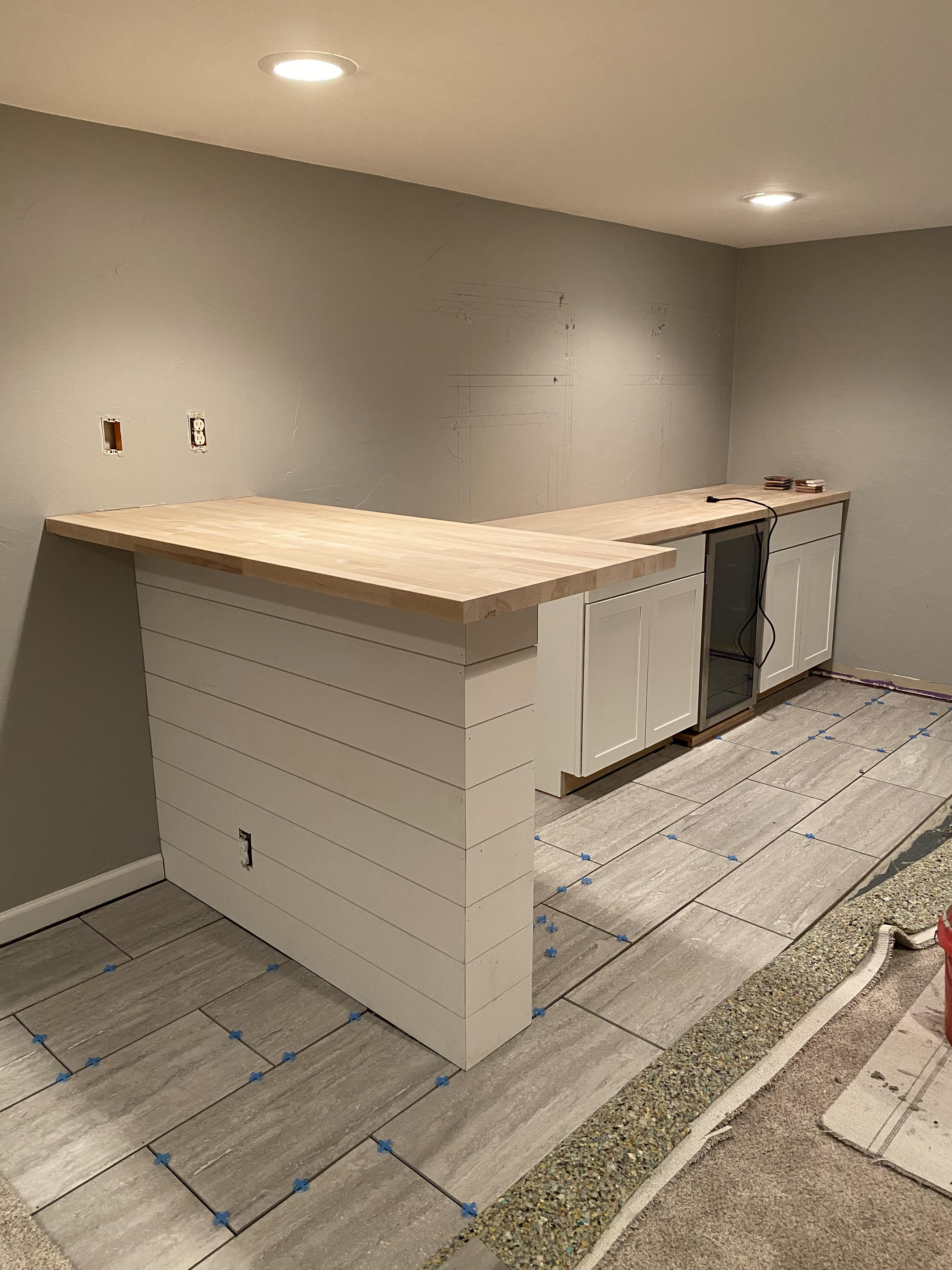 Basement Bar Coming Along Wall Above Base Cabinets Gets Subway Tile And Some Floating Shelves With Leds First Time Doing Floor Tile As I M Mainly A Finish Carpenter But I M Doing It