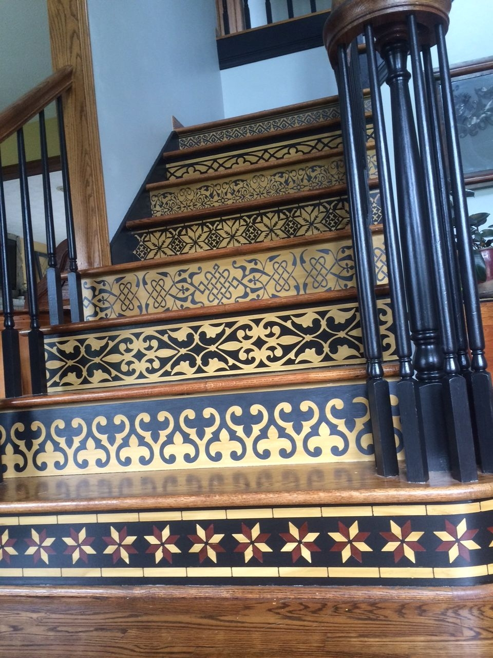 Painted Stair Risers Designporn | Painted Risers On Stairs | Flair | Painting | Stained | Basement | Hardwood