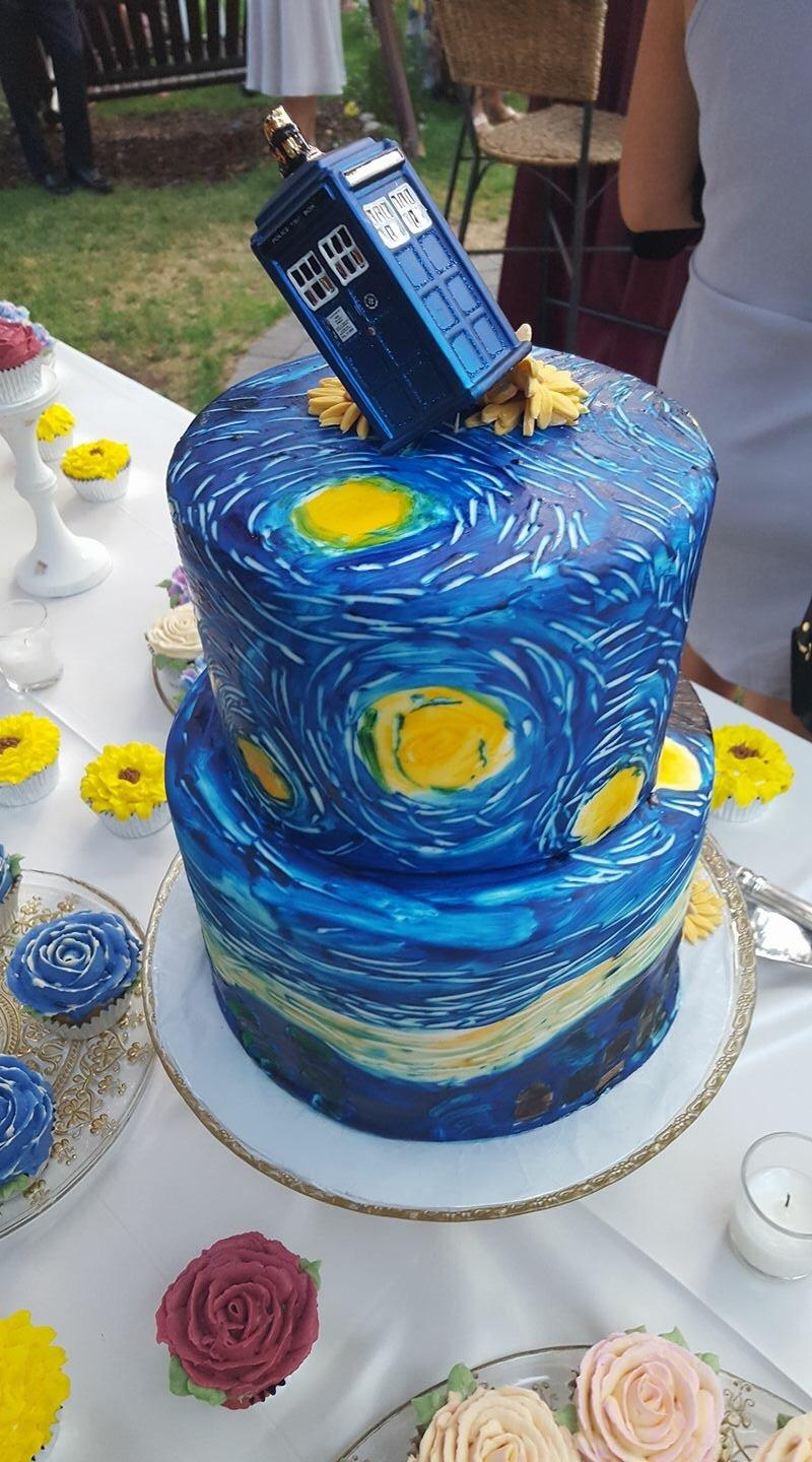I ate  Doctor Who Vincent van Gogh wedding cake   food  I ate  Doctor Who Vincent van Gogh wedding cakeImage