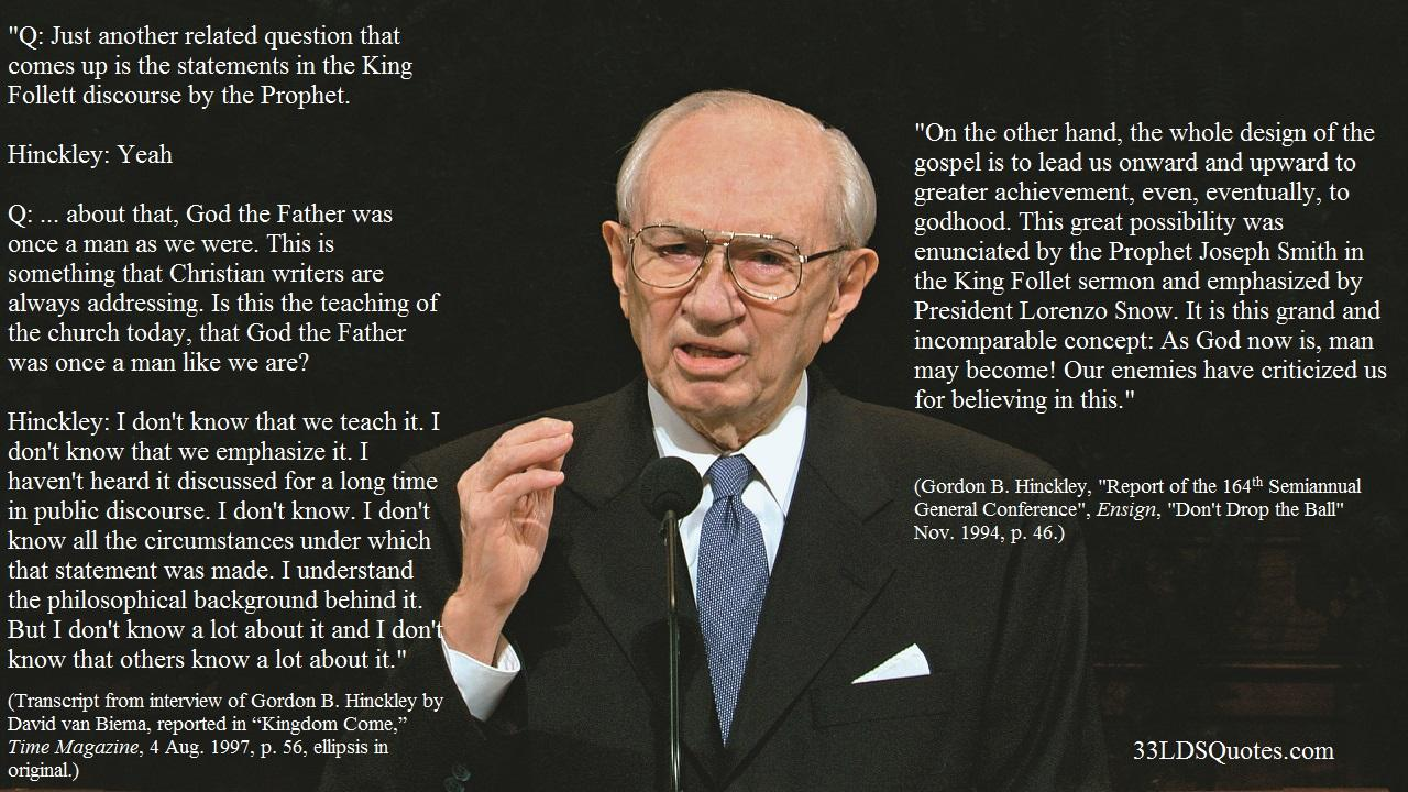 Hinckley - Christian God vs Mormon God