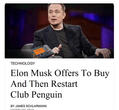 Elon Musk Offers To Buy And Then Restart Club Penguin
