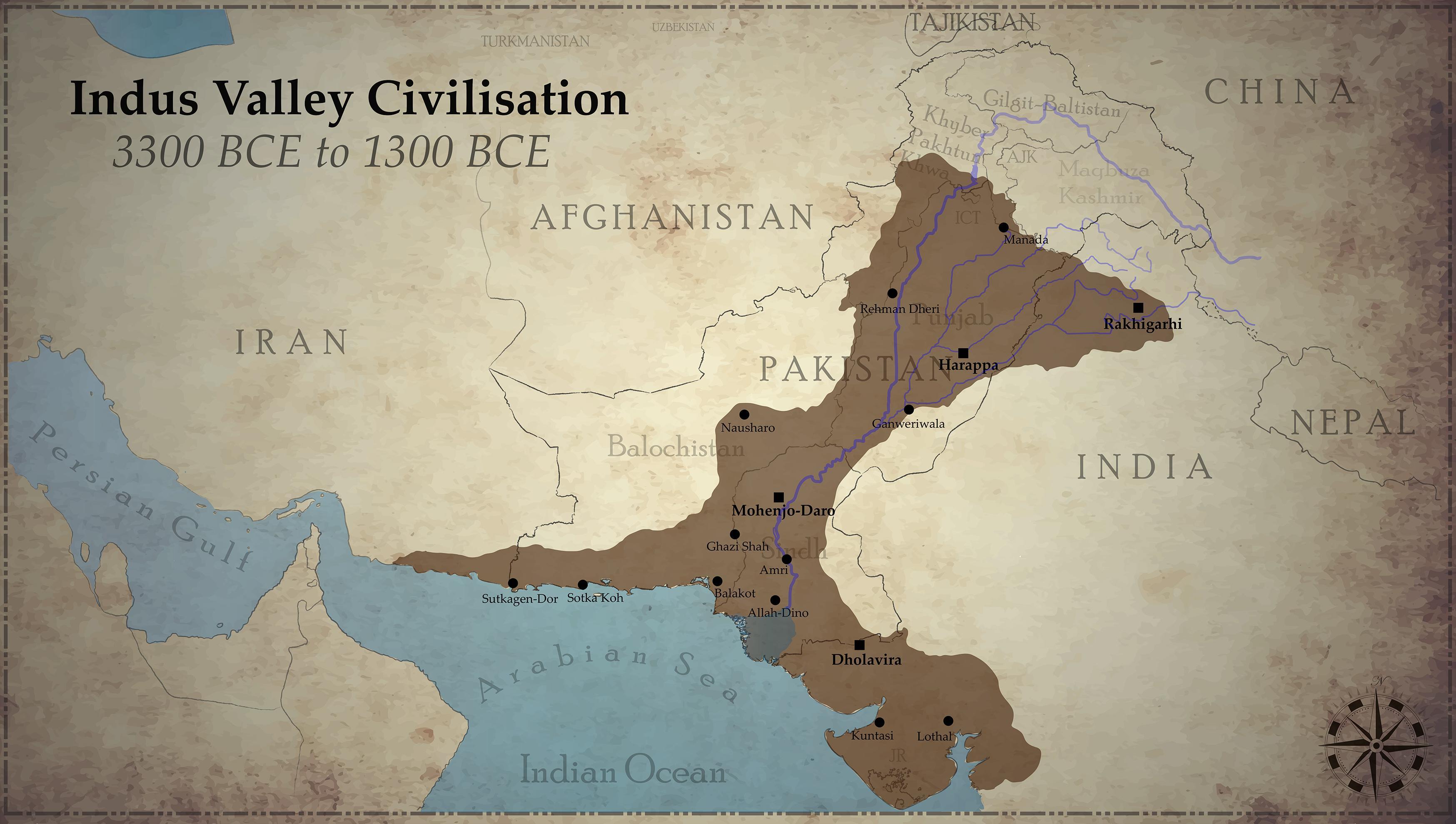Indus Valley Civilization Oc X Map