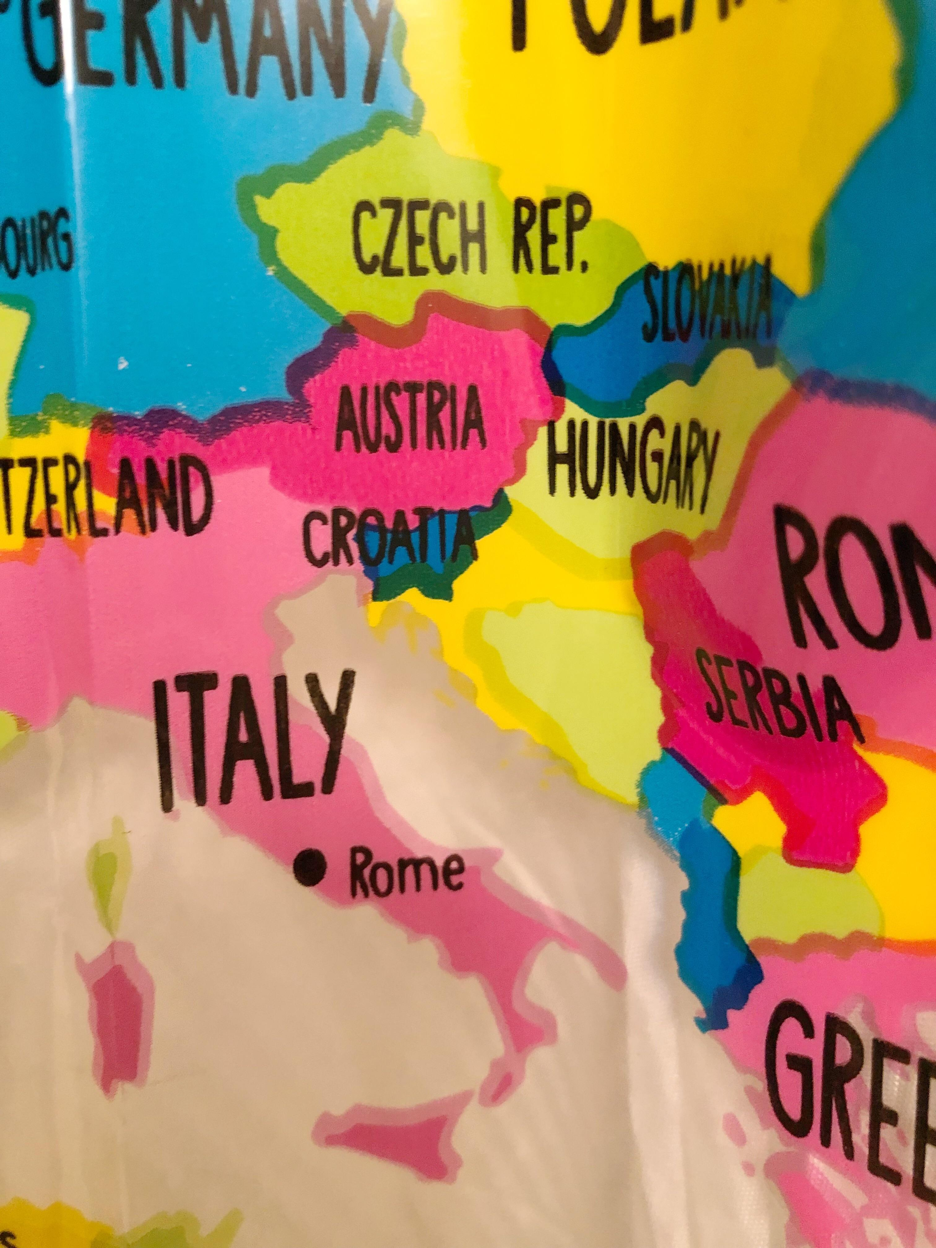 never buy a world map shower curtain