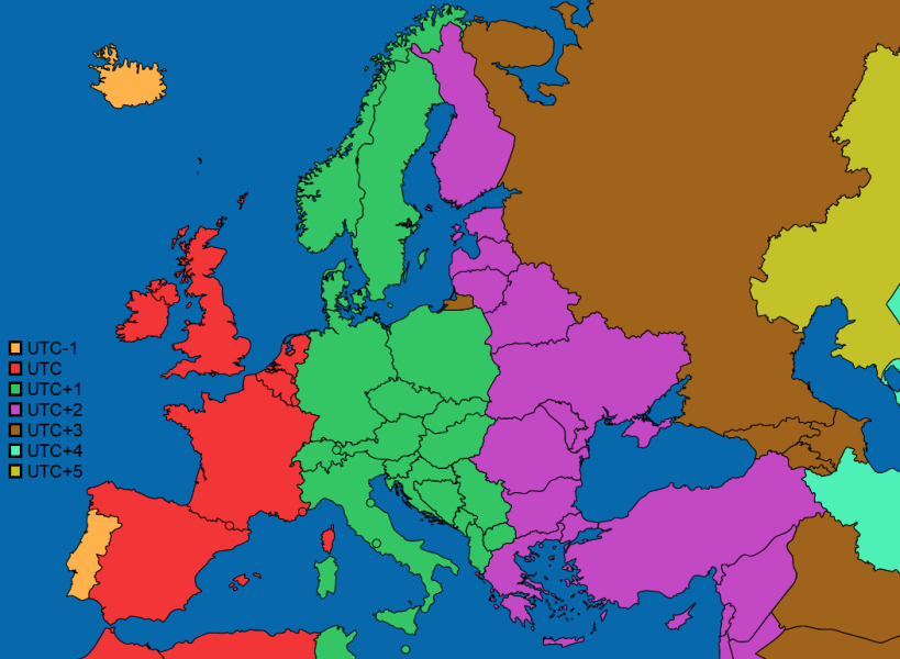 European countries if each country used only one timezone  where     European countries if each country used only one timezone  where most of  their land falls into