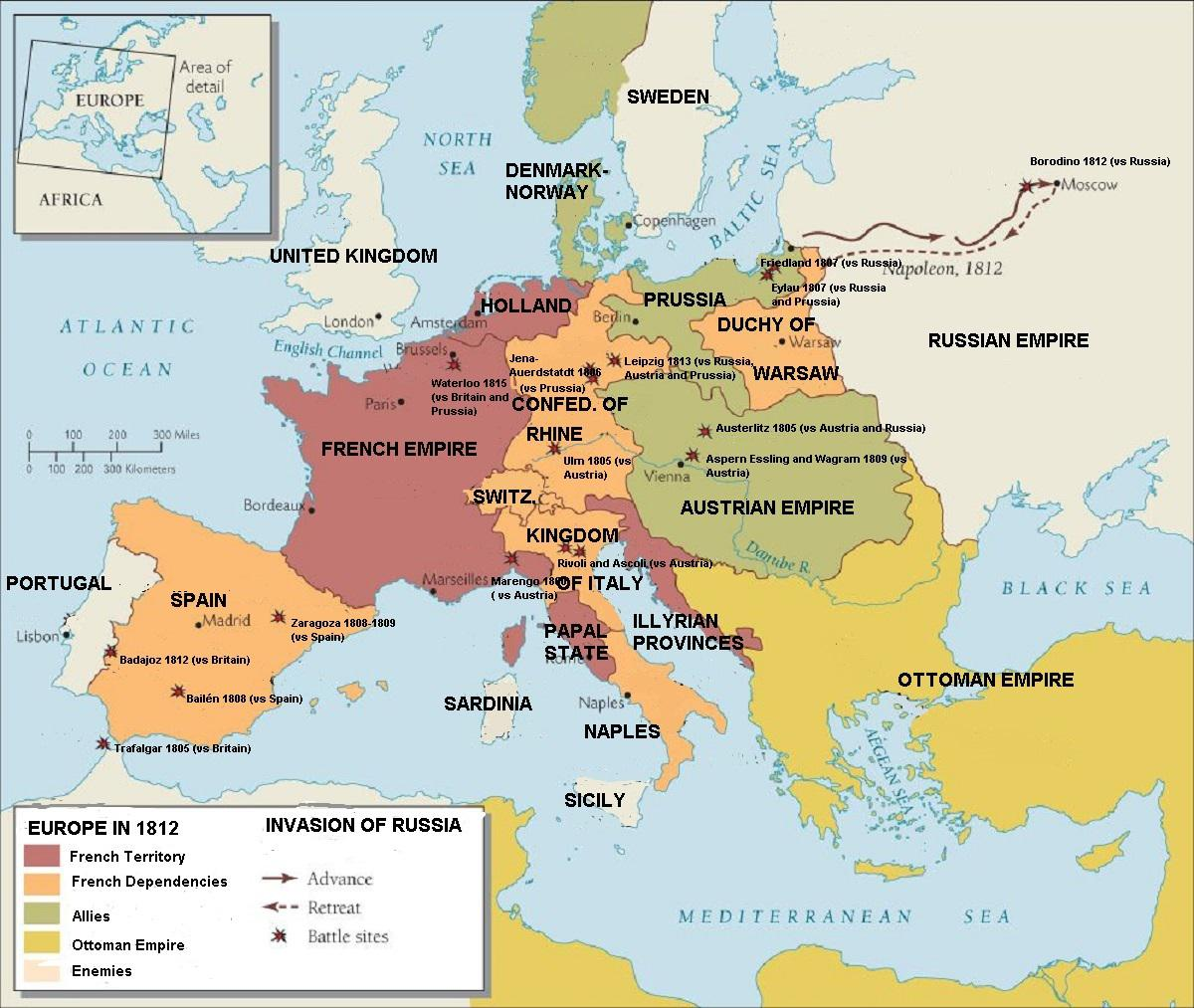 Europe During Peak Of Napoleonic Empire And Showing
