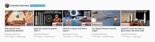 Everyday Astronaut made YouTube's Trending feed ...