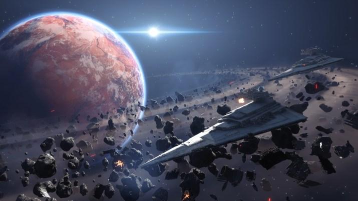 Spaceship by Saturn [5120×2880]