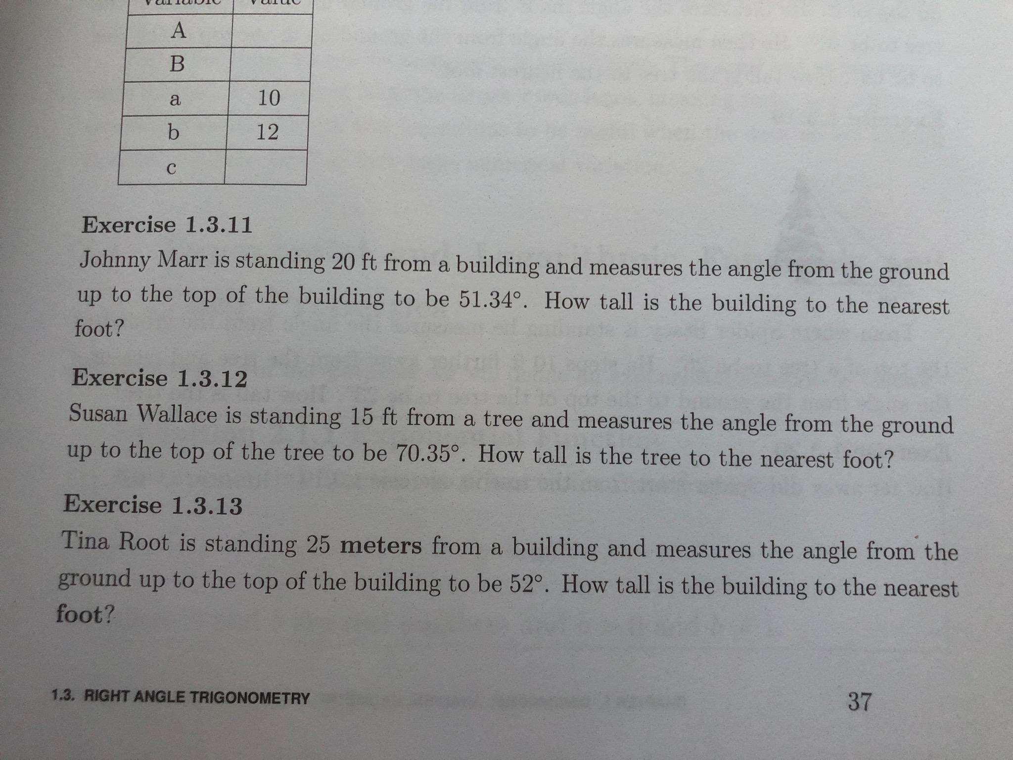 Math 120 Right Angle Trigonometry Pythagorean Theorem